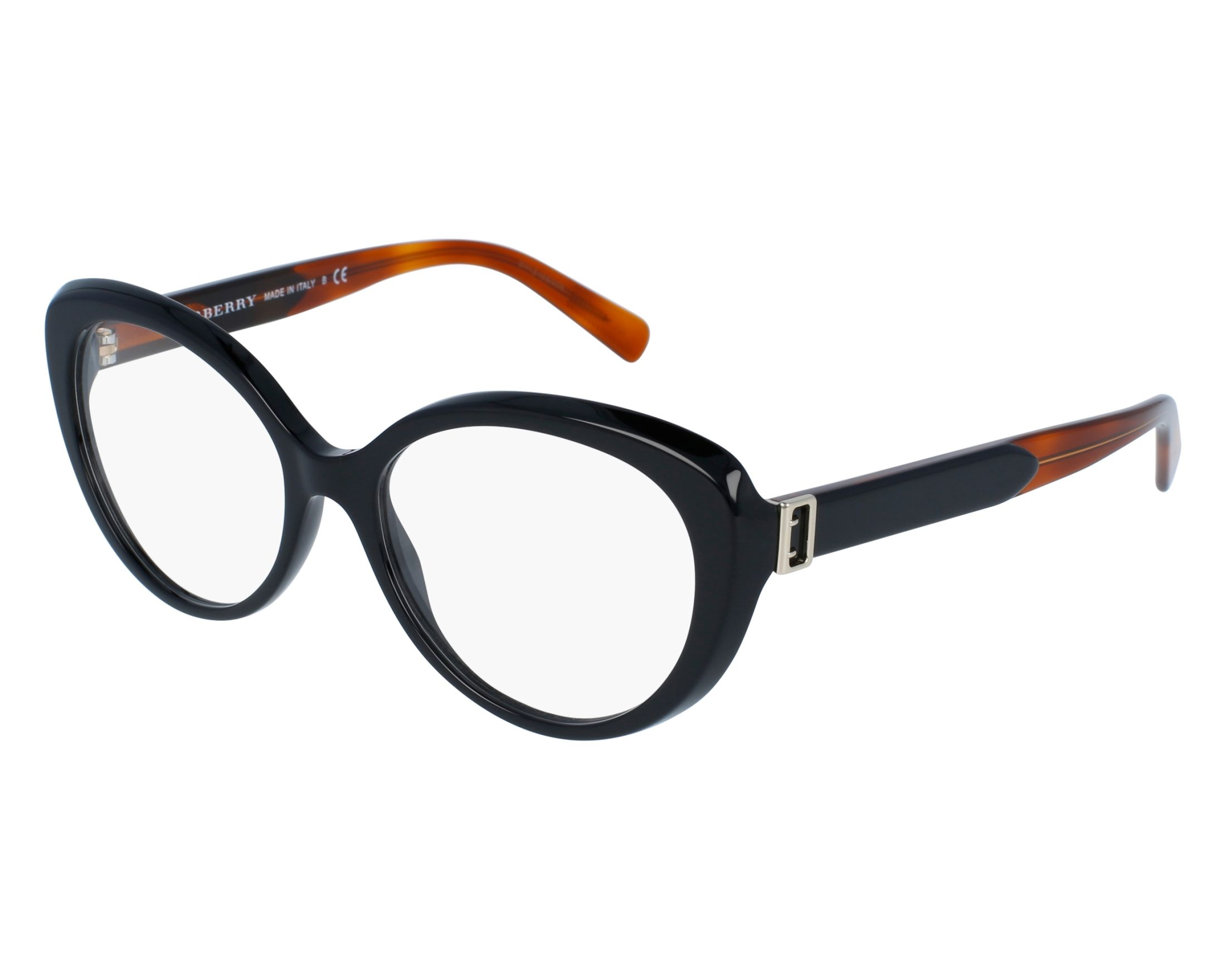 96771a1f55a eyeglasses Burberry BE-2251 3637 53-16 Black Brown front view