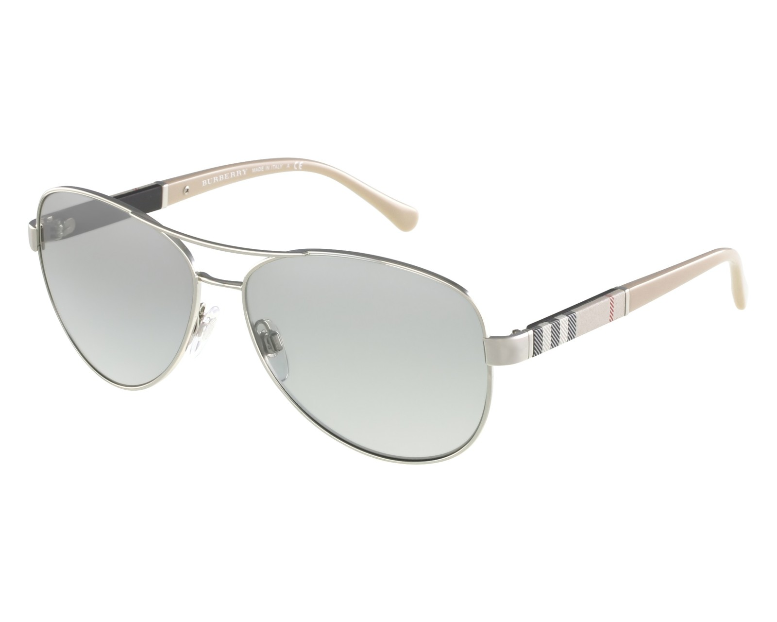 aa8ff87506 Sunglasses Burberry BE-3080 1005 6V 59-14 Silver Beige front view