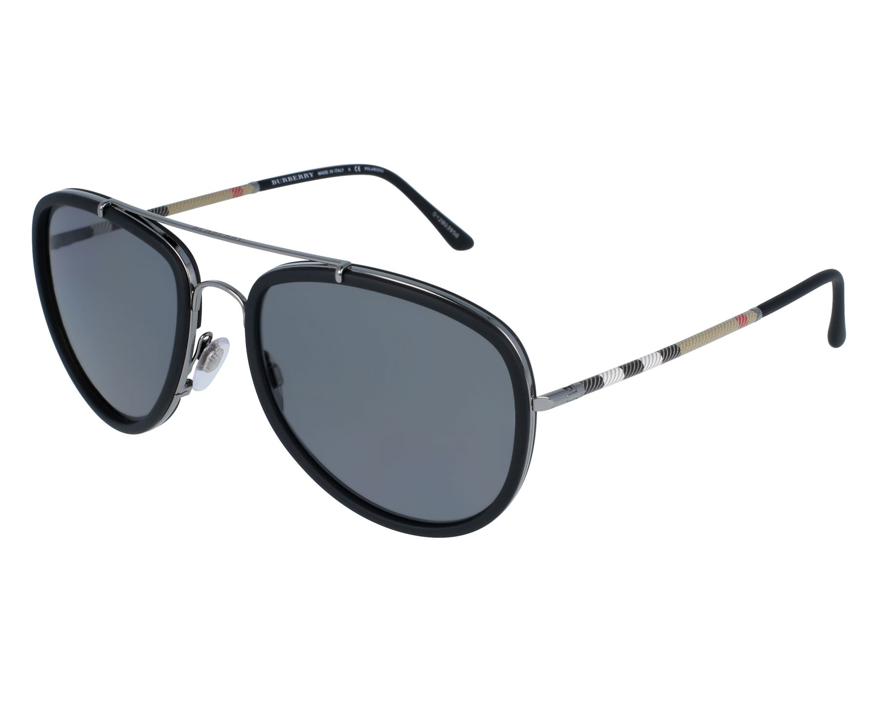 a0050e07f50 Sunglasses Burberry BE-3090-Q 1003 T8 58-18 Black Gun front
