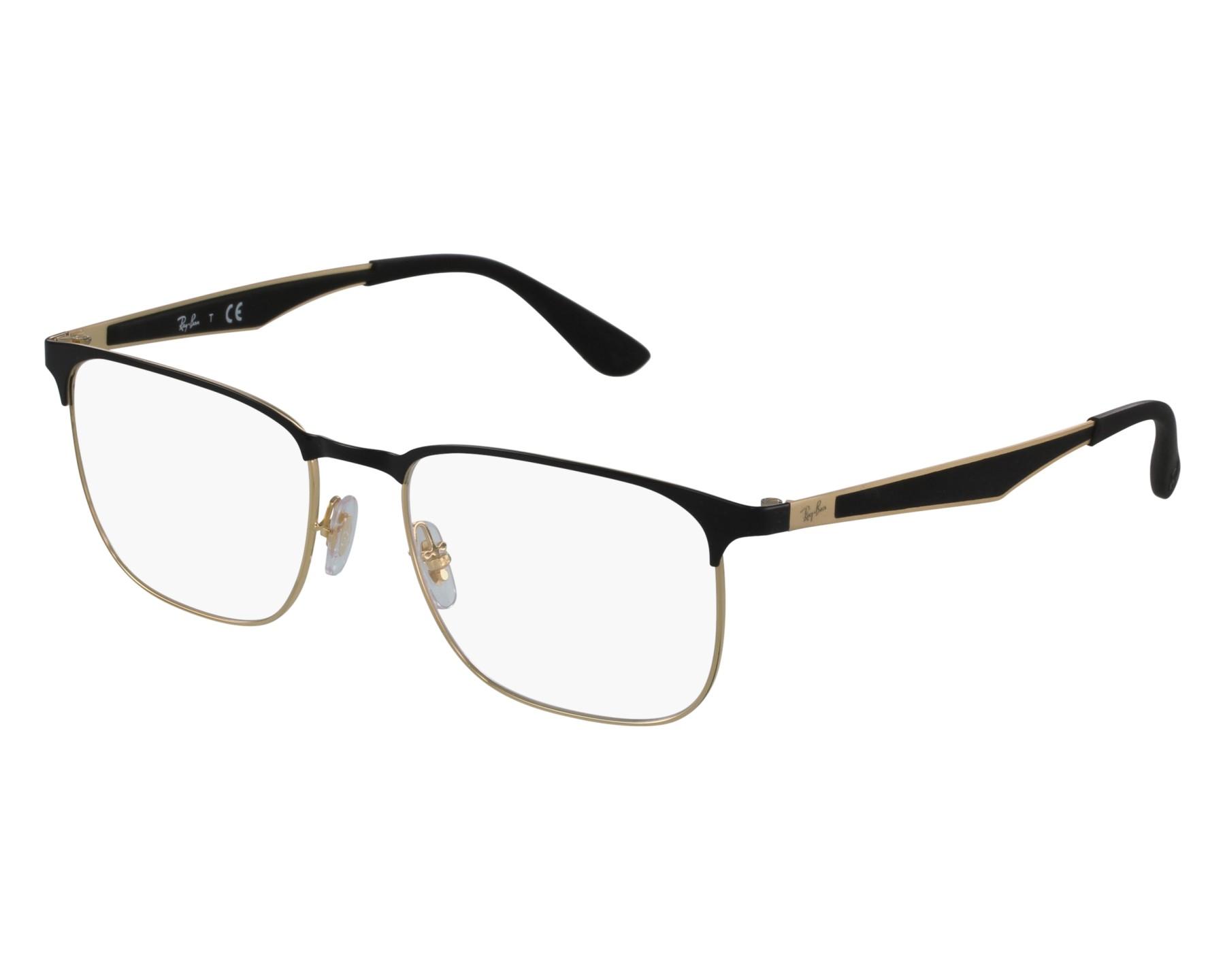 20cdfc52b60 eyeglasses Ray-Ban RX-6363 2890 54-18 Black Gold front view