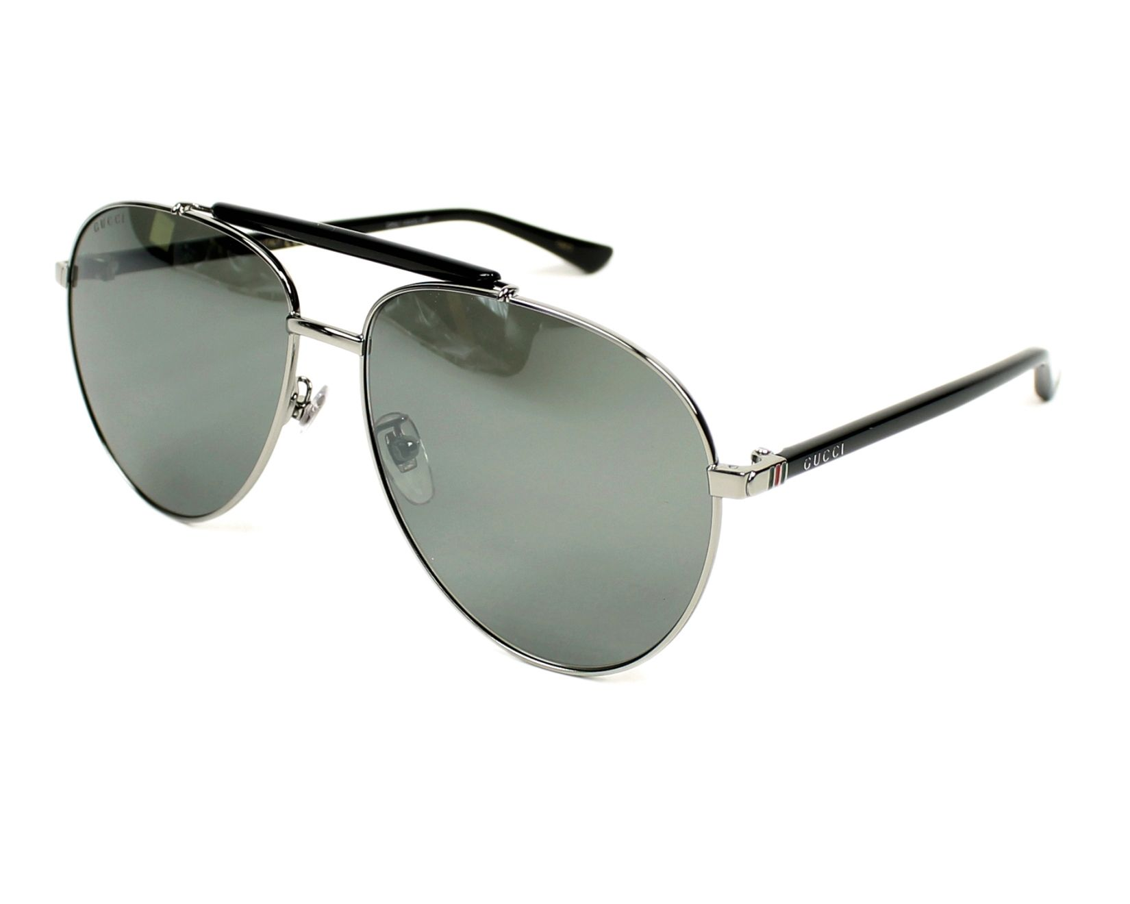 1874337c012 Sunglasses Gucci GG-0014-S 001 60-15 Black Silver profile view