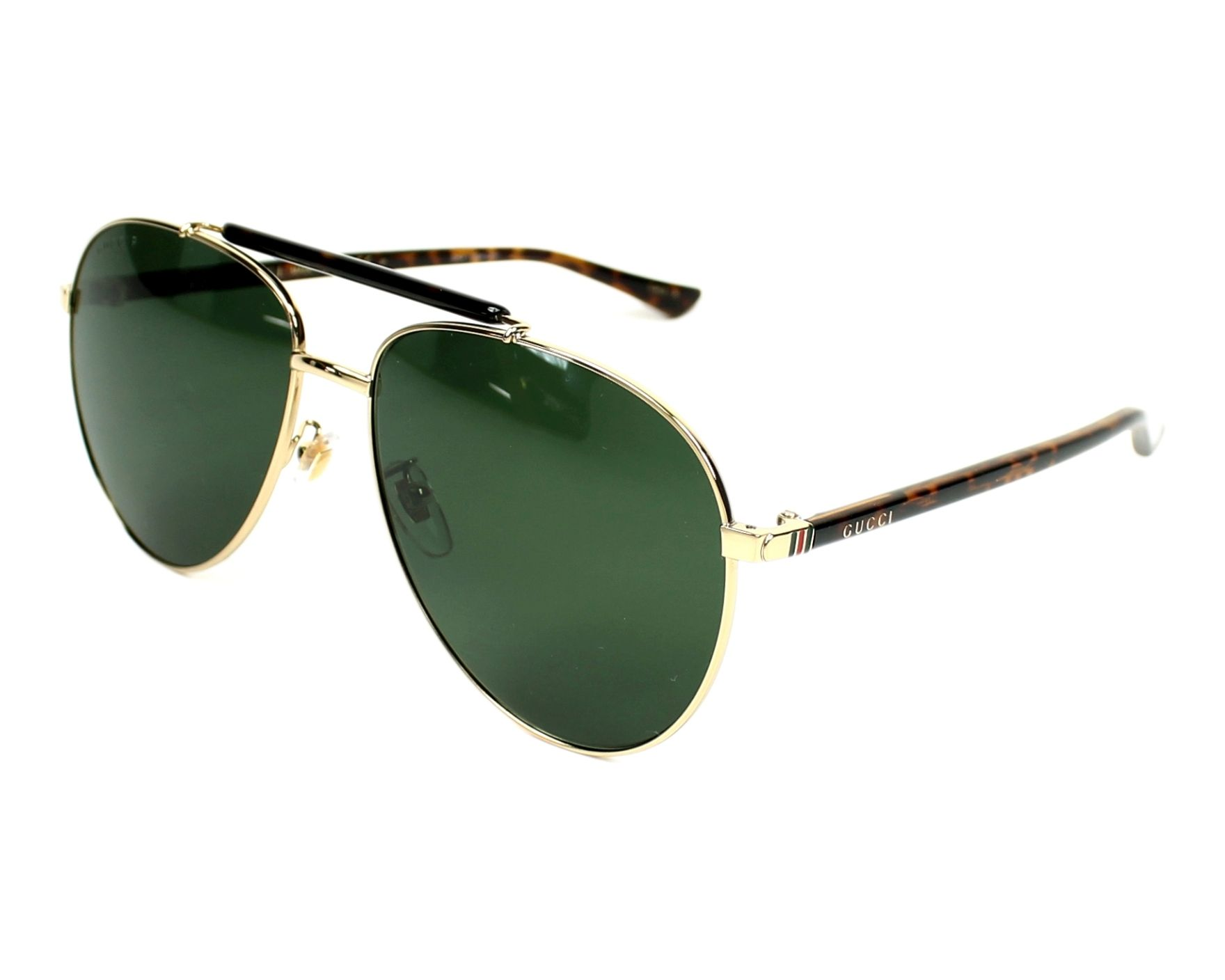 1665b78bf45 Sunglasses Gucci GG-0014-S 006 60-15 Gold Havana profile view