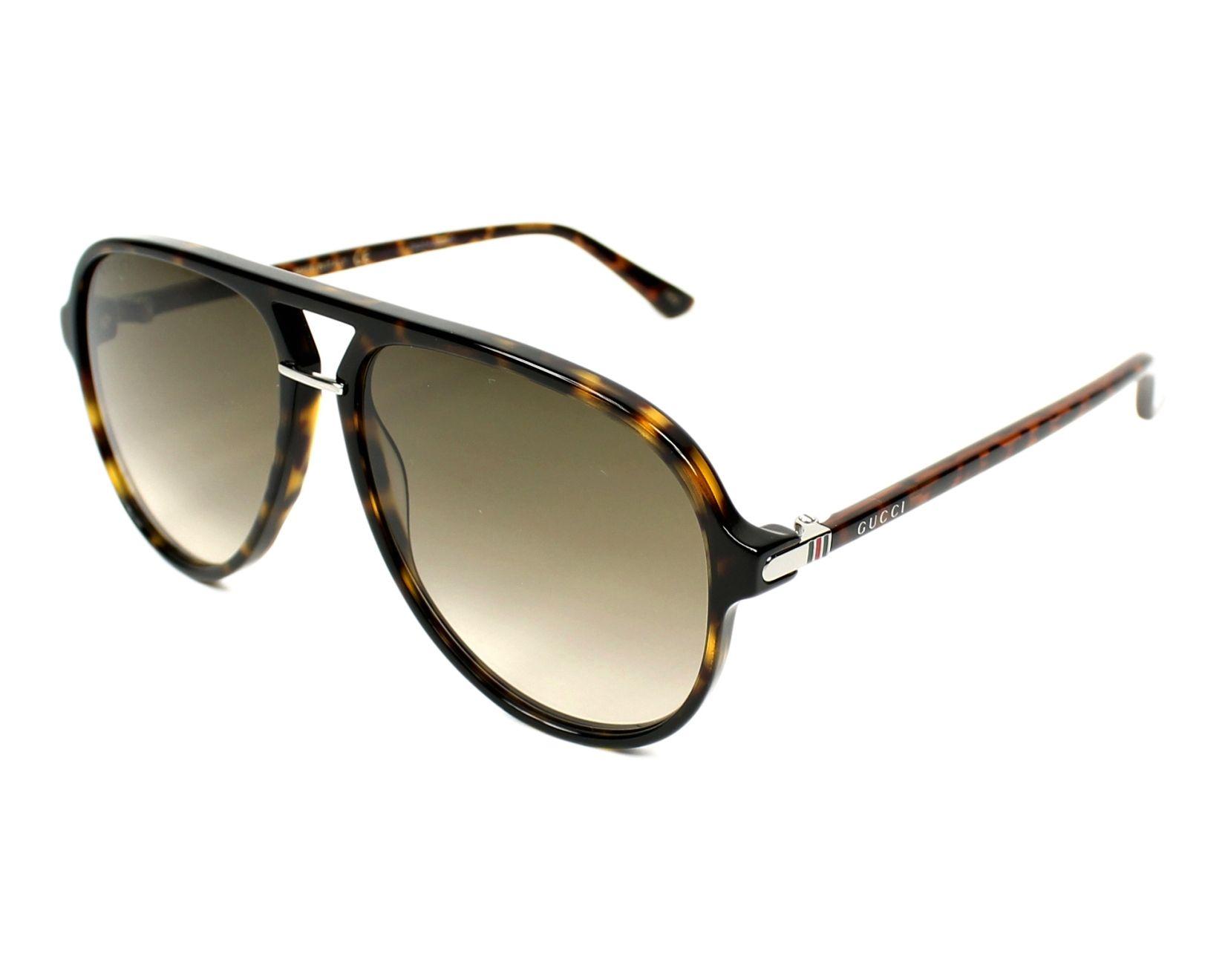 74eb06c53f0 Sunglasses Gucci GG-0015-S 002 58-14 Havana profile view