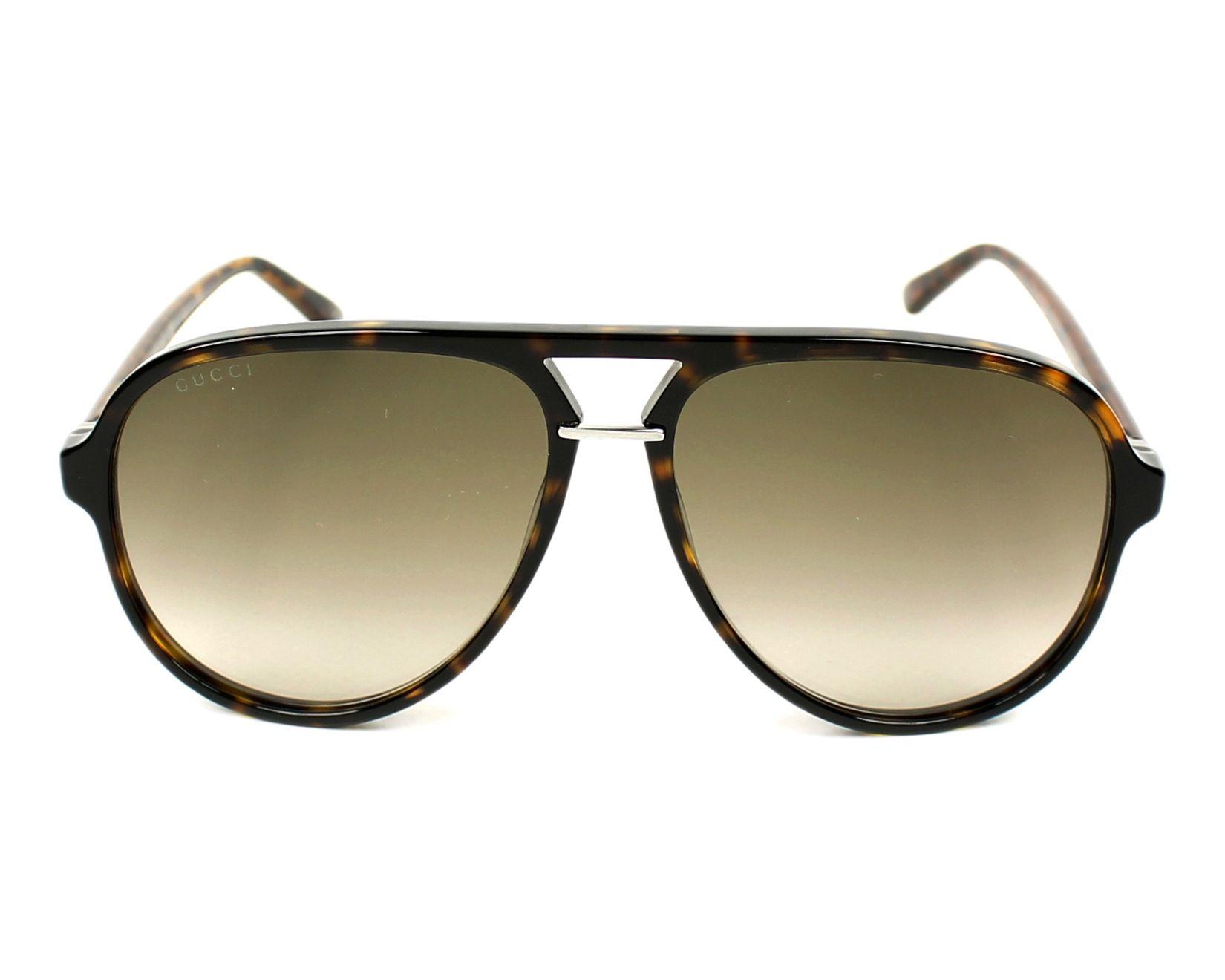 47a3a17f4c7 Sunglasses Gucci GG-0015-S 002 58-14 Havana front view