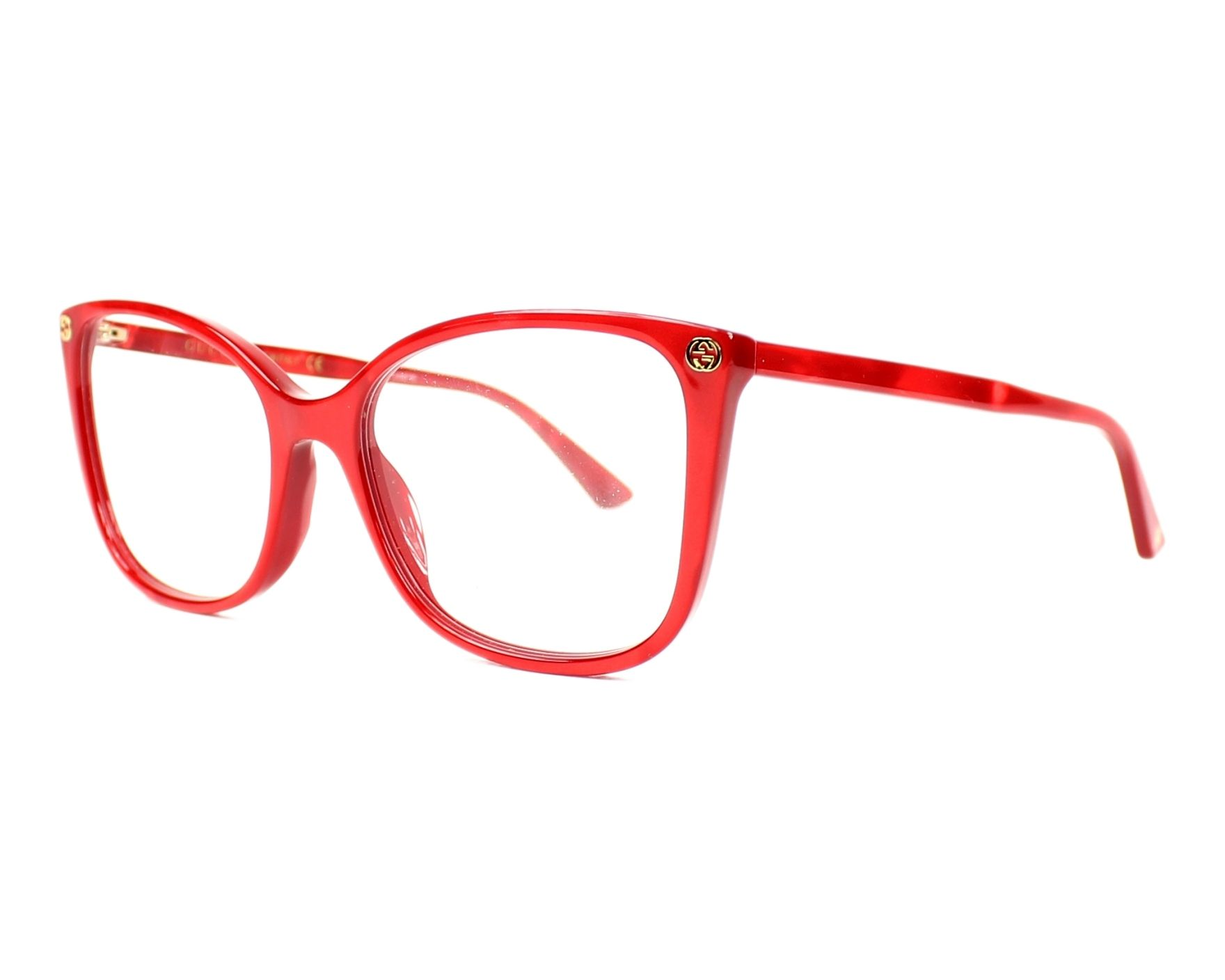 cf3b0fc63ee eyeglasses Gucci GG-0026-O 004 53-17 Red profile view