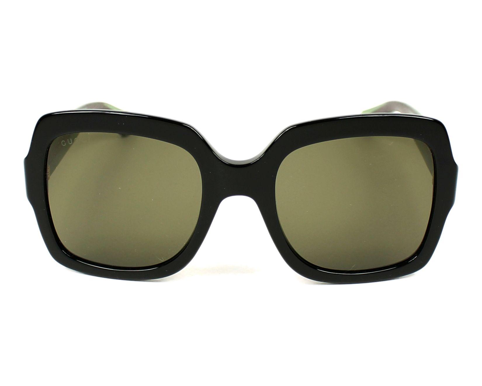 4c7fdbea50 Sunglasses Gucci GG-0036-S 002 54-22 Black Green front view