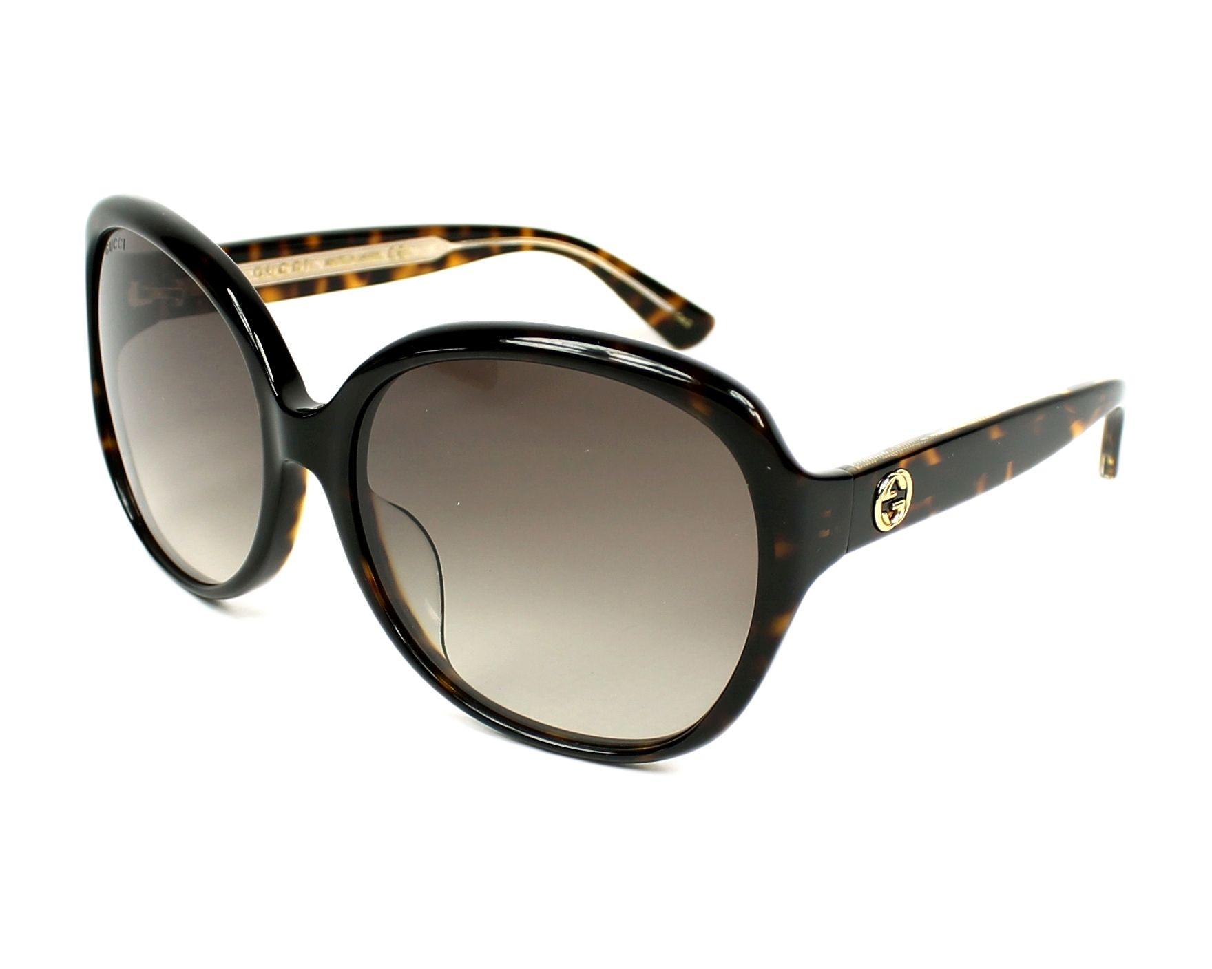 275d364e1184 Sunglasses Gucci GG-0080-SK 003 61-17 Havana Havana profile view