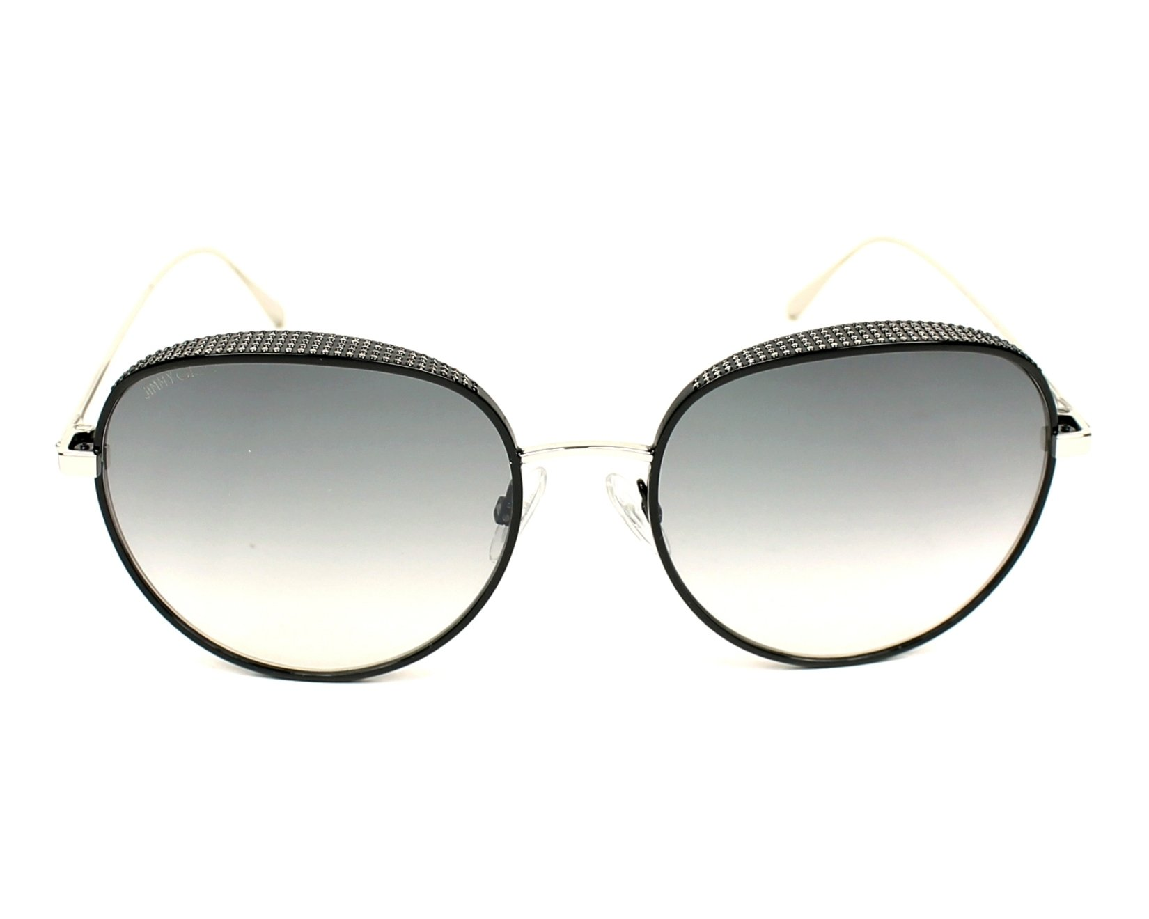 66752b02344 thumbnail Sunglasses Jimmy Choo ELLO-S JIN IC - Silver Black front view