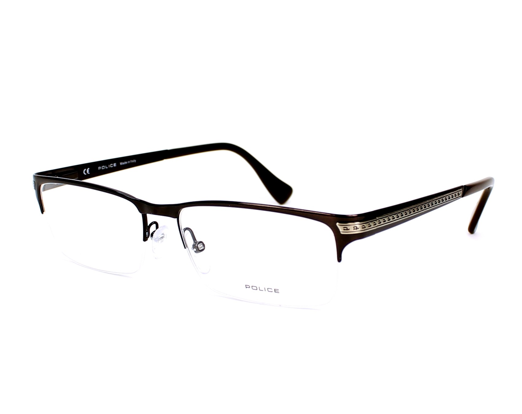 be11796e854 eyeglasses Police V-8786 08EP - Brown burnt profile view