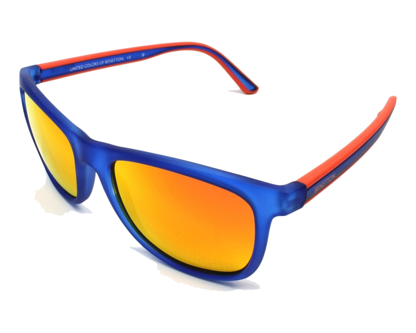 Transparent Blue - Matt Orange with Grey green polarised with Red mirror effect lenses Benetton BE982S 03