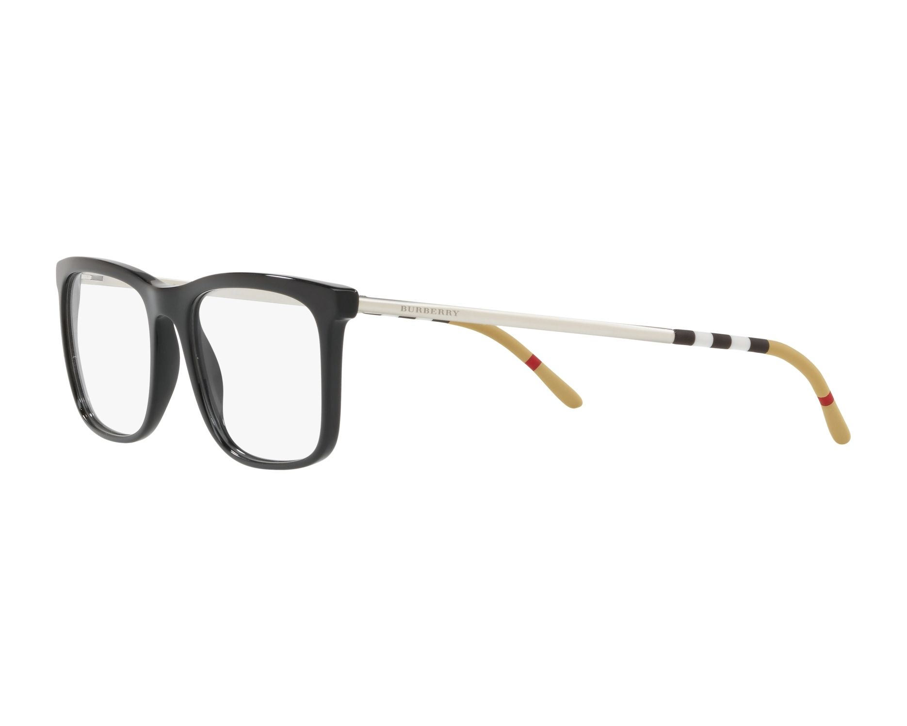 eyeglasses Burberry BE-2274 3001 55-18 Black Silver 360 degree view 3