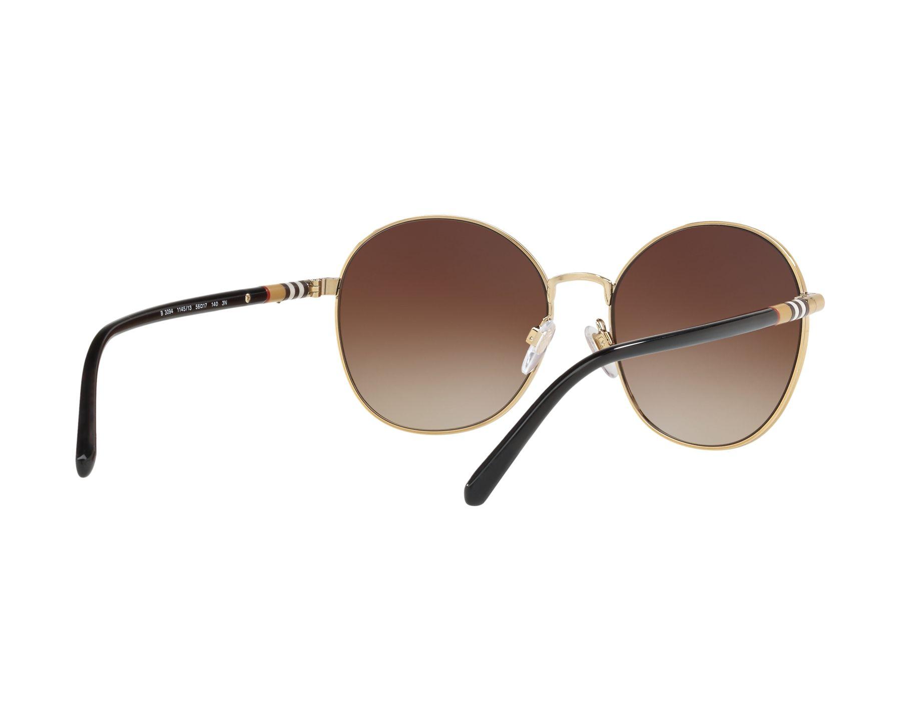 7c25ddf0c8a Sunglasses Burberry BE-3094 114513 56-17 Black Gold 360 degree view 8