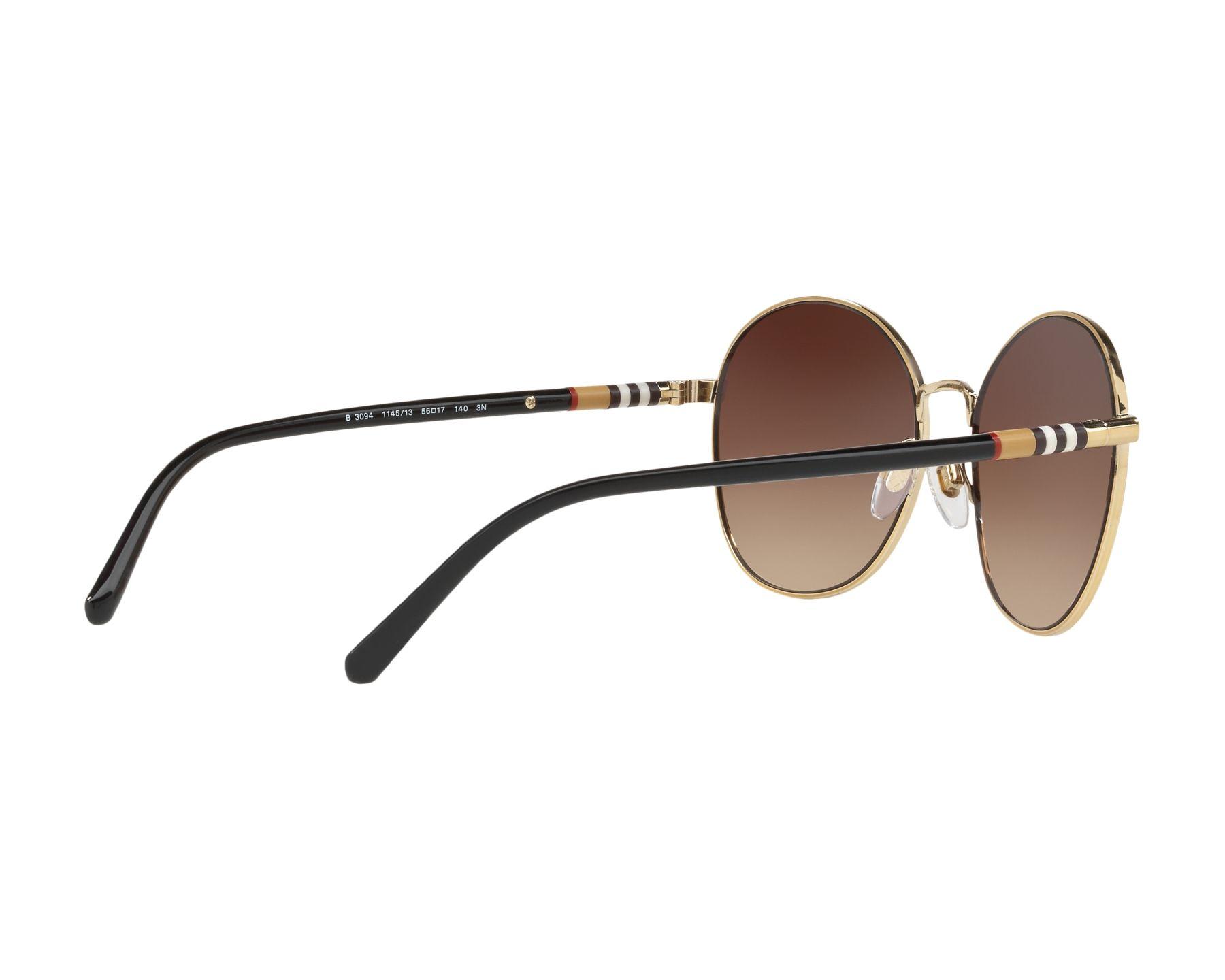 a7a3e14a458 Sunglasses Burberry BE-3094 114513 56-17 Black Gold 360 degree view 9