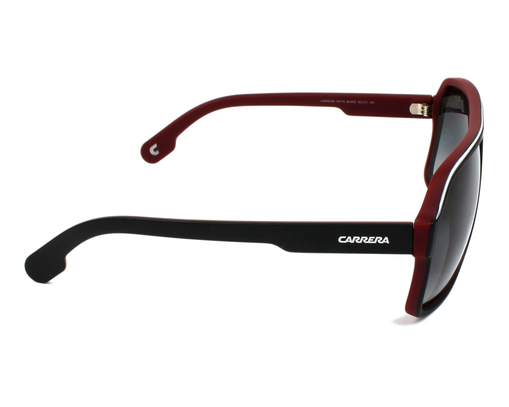 e18b25b18b99 Sunglasses Carrera 1001-S BLX/9O 62-11 Black Bordeaux side view