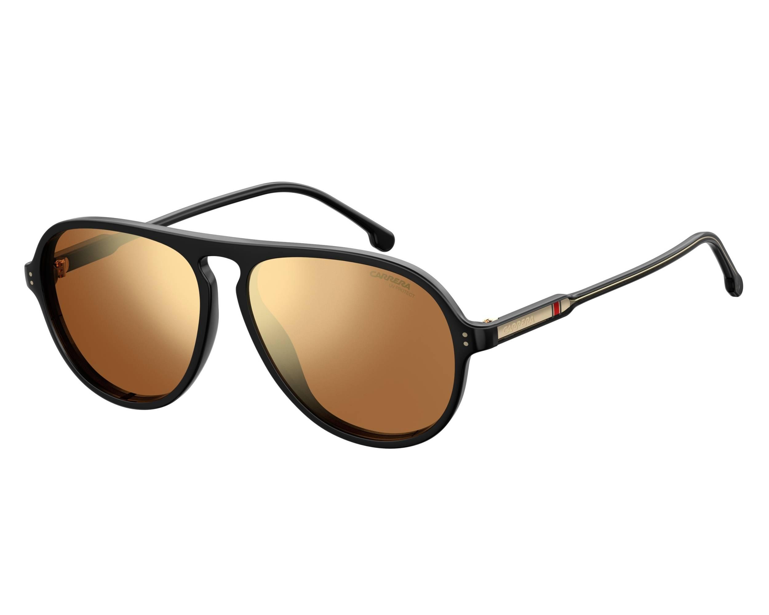 f0c895228fa3 Sunglasses Carrera 198-S 807K1 57-14 Black Gold profile view