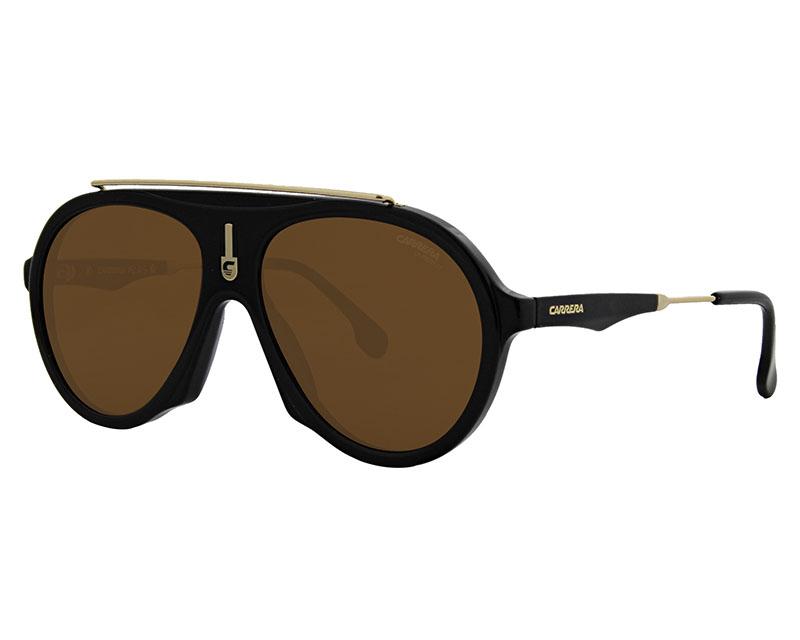 e62c9fc545 Sunglasses Carrera CARRERA-FLAG 807 70 57-16 Black Gold profile view