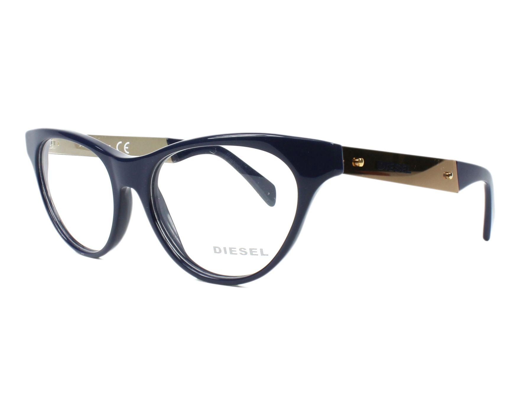 f5fe448b0e7 eyeglasses Diesel DL-5059 090 52-16 Blue Gold profile view
