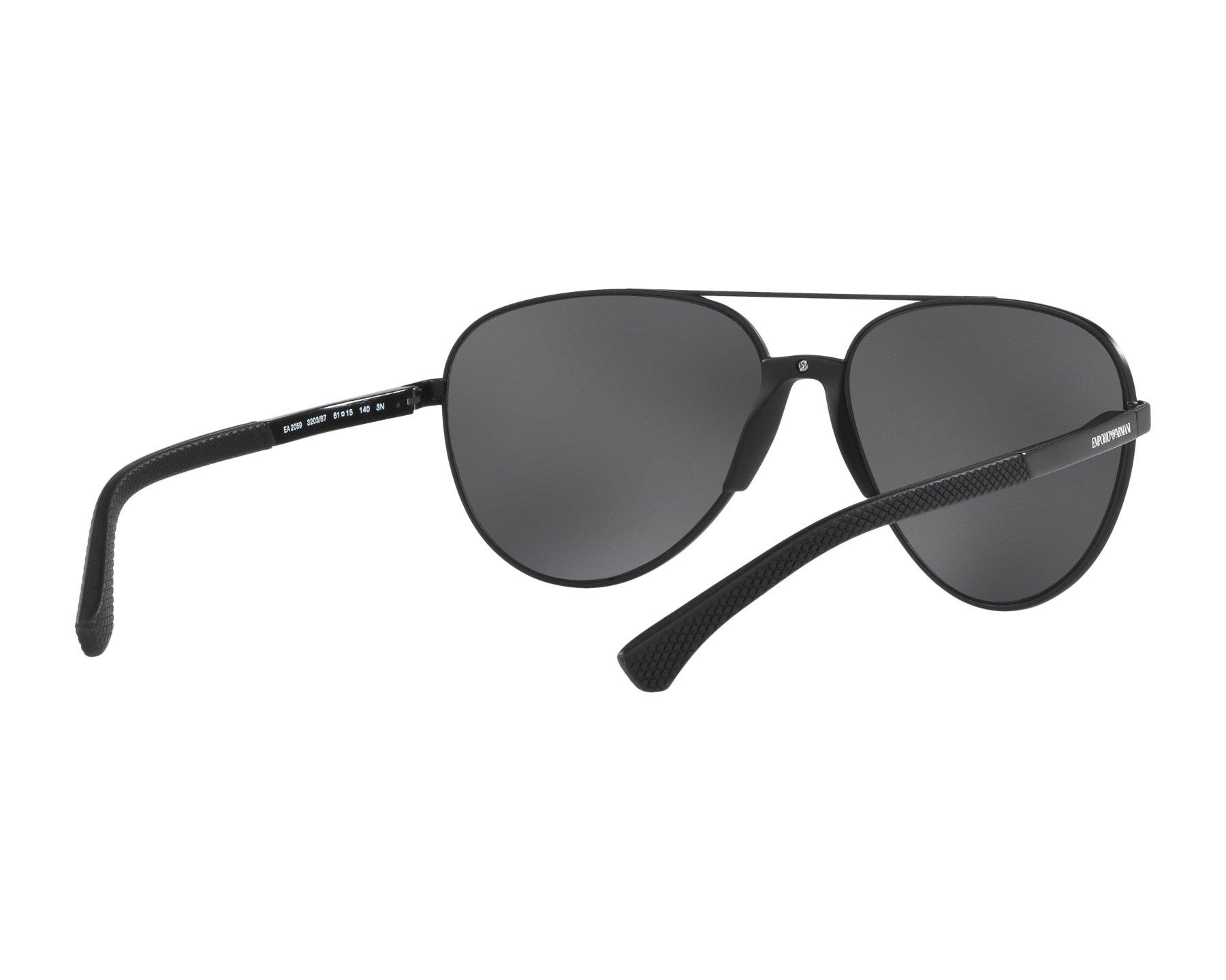 f63eb709b7ce Sunglasses Emporio Armani EA-2059 320387 61-15 Black 360 degree view 8