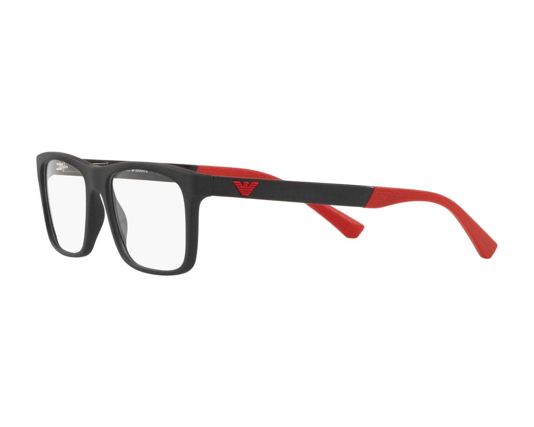 1ada23b2b6b7 eyeglasses Emporio Armani EA-3101 5063 55-17 Black Red 360 degree view 3
