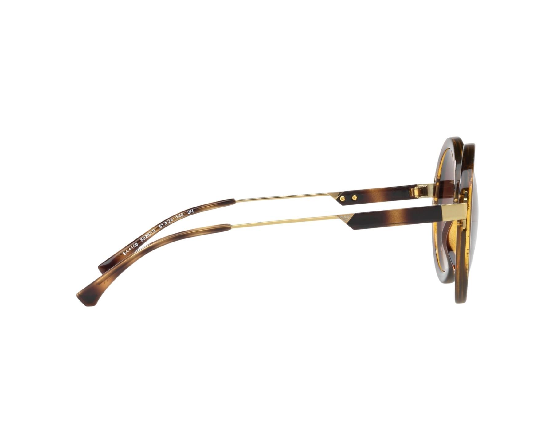 d614db599e3f Sunglasses Emporio Armani EA-4106 502613 51-24 Havana Gold 360 degree view  10