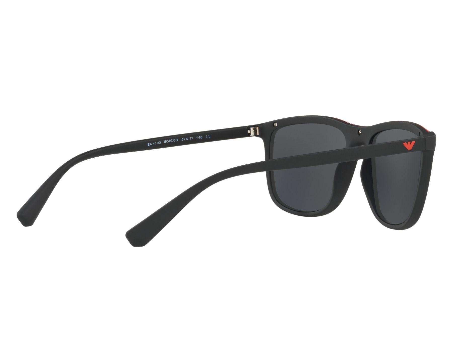 Sunglasses Emporio Armani EA-4109 50426G 57-17 Black Red 360 degree view 9 0f2080c125
