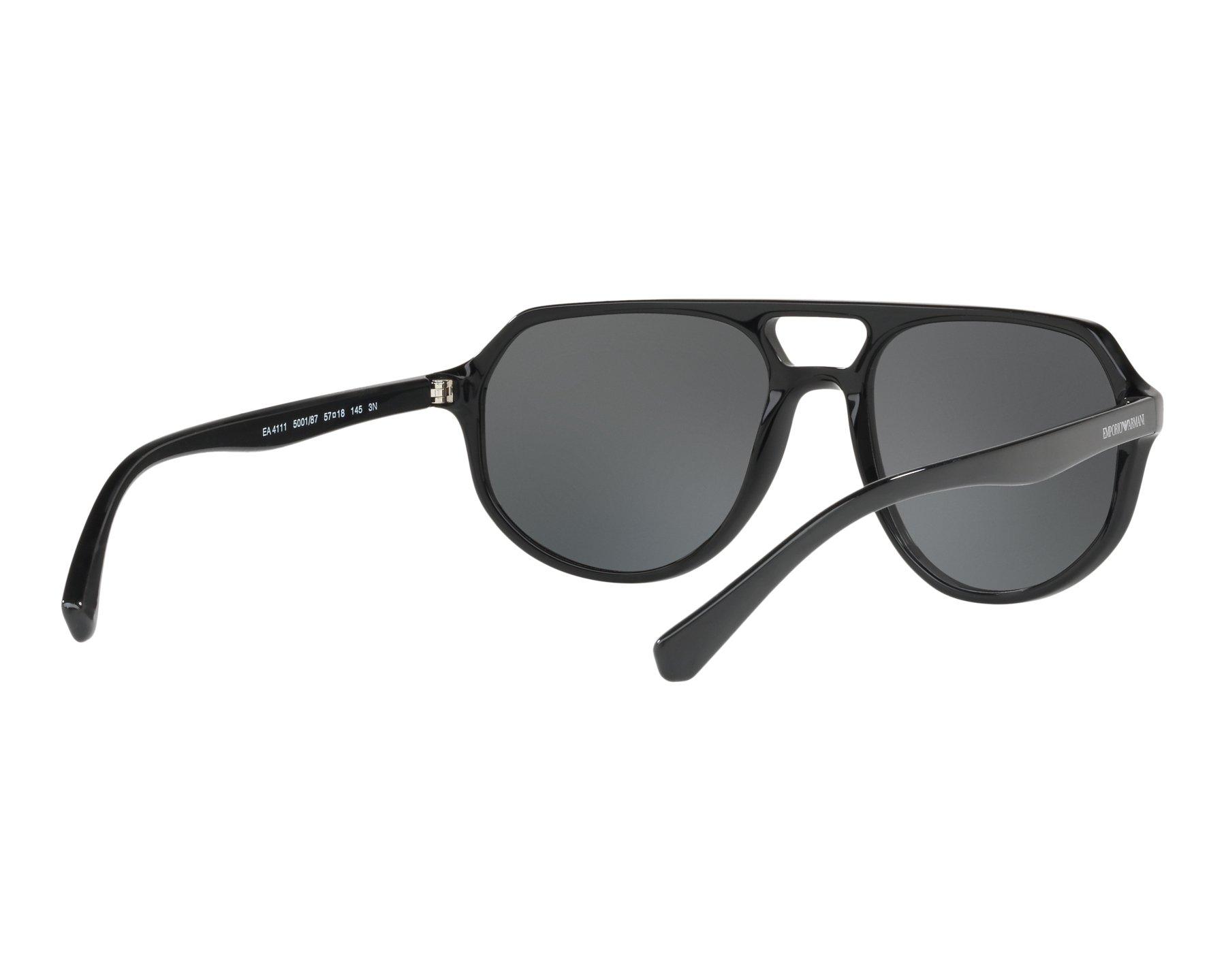 8493adc6f38 Sunglasses Emporio Armani EA-4111 500187 57-18 Black 360 degree view 8