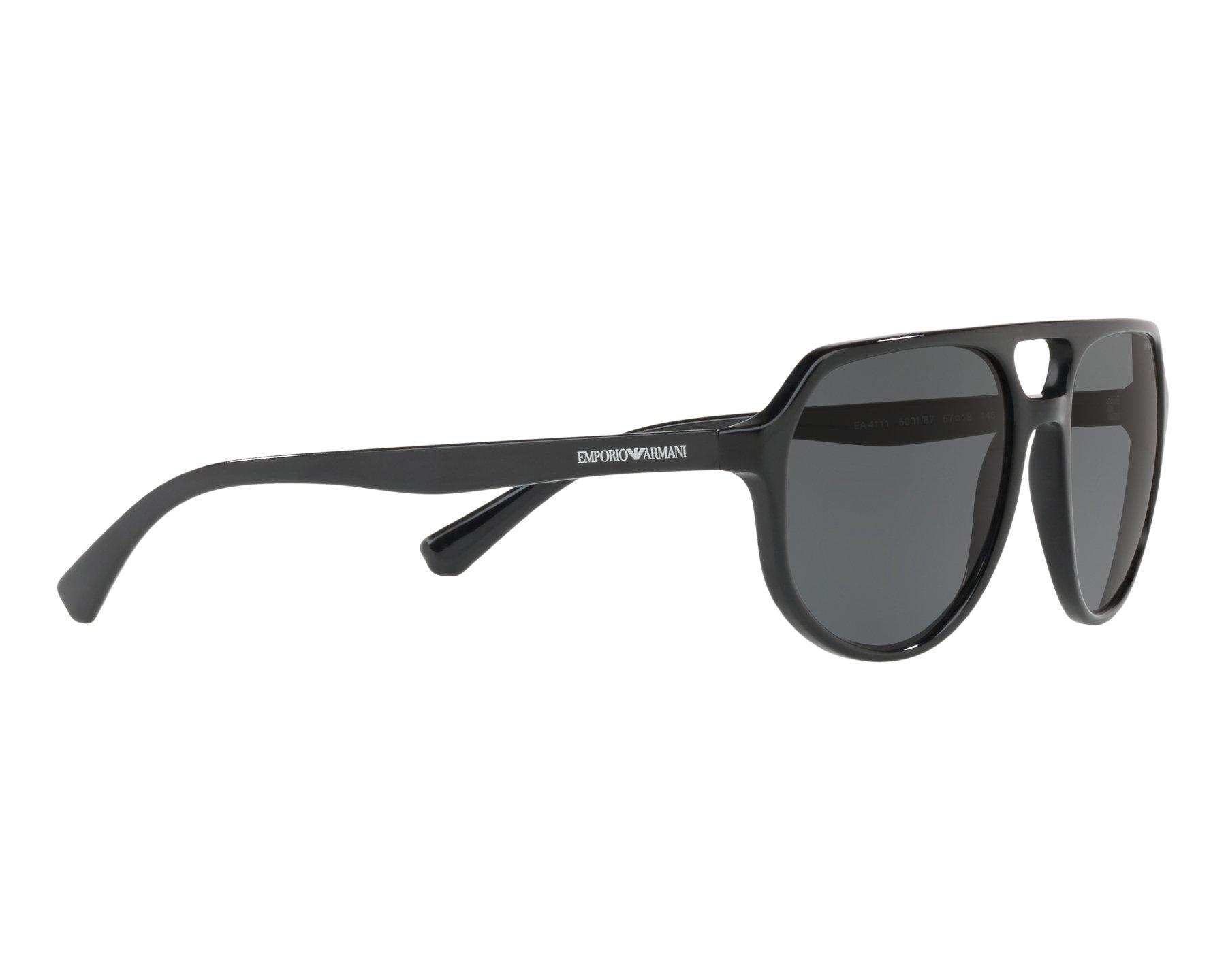 e5c2de048f6 Sunglasses Emporio Armani EA-4111 500187 57-18 Black 360 degree view 11