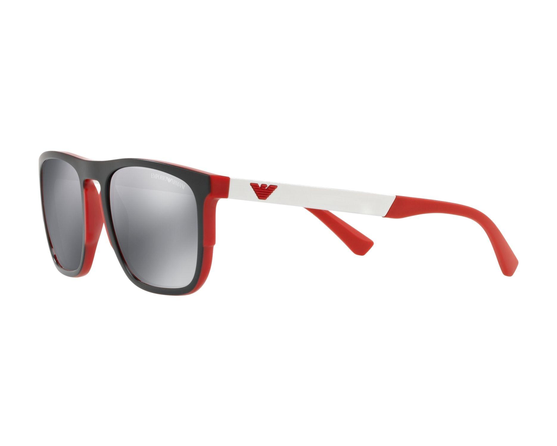 8d1e42a045 Sunglasses Emporio Armani EA-4114 56726G 55-20 Black Red 360 degree view 3