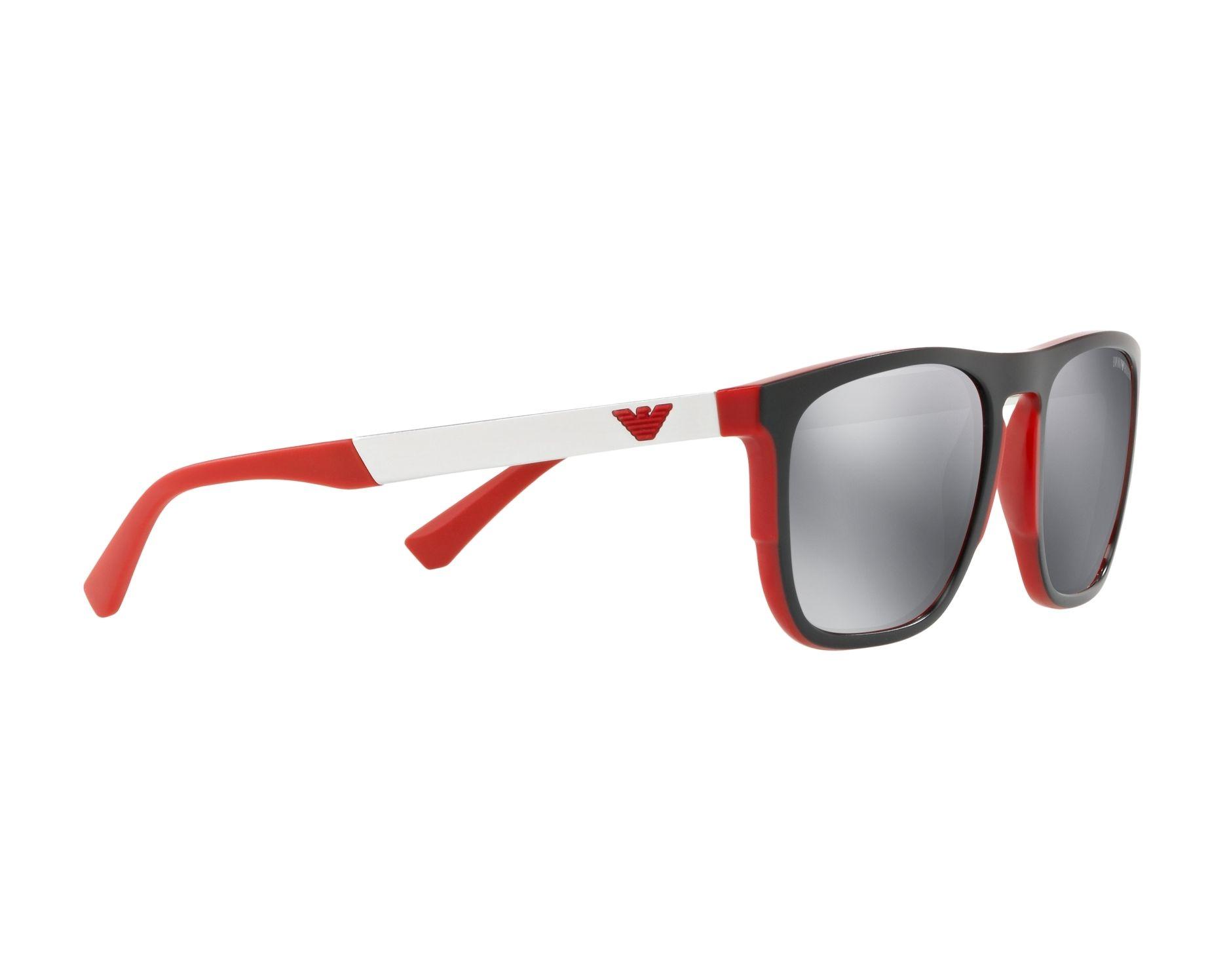 96cca732f7 Sunglasses Emporio Armani EA-4114 56726G 55-20 Black Red 360 degree view 11