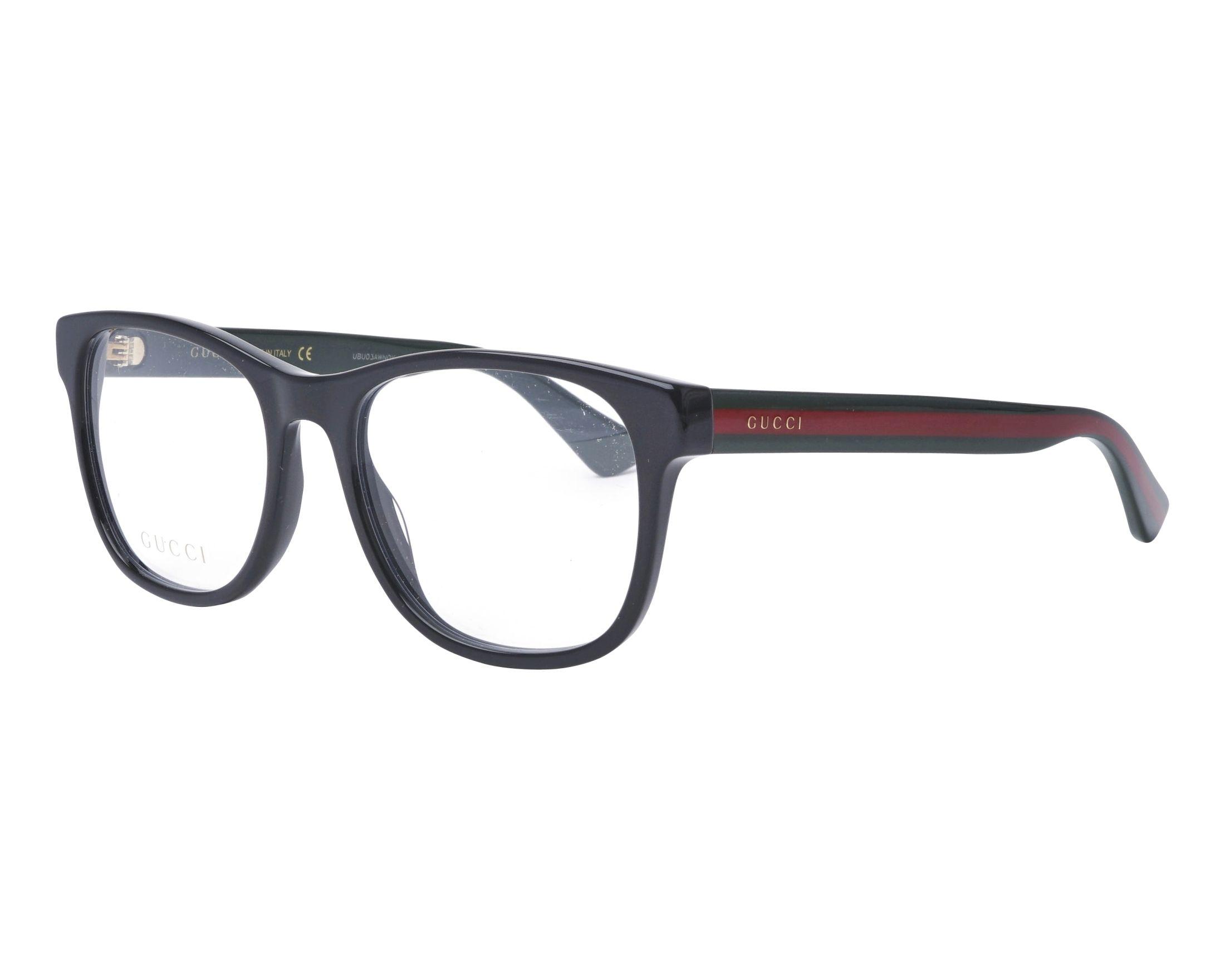 c0ecefdefd eyeglasses Gucci GG-0004-O 007 55-19 Black Green profile view