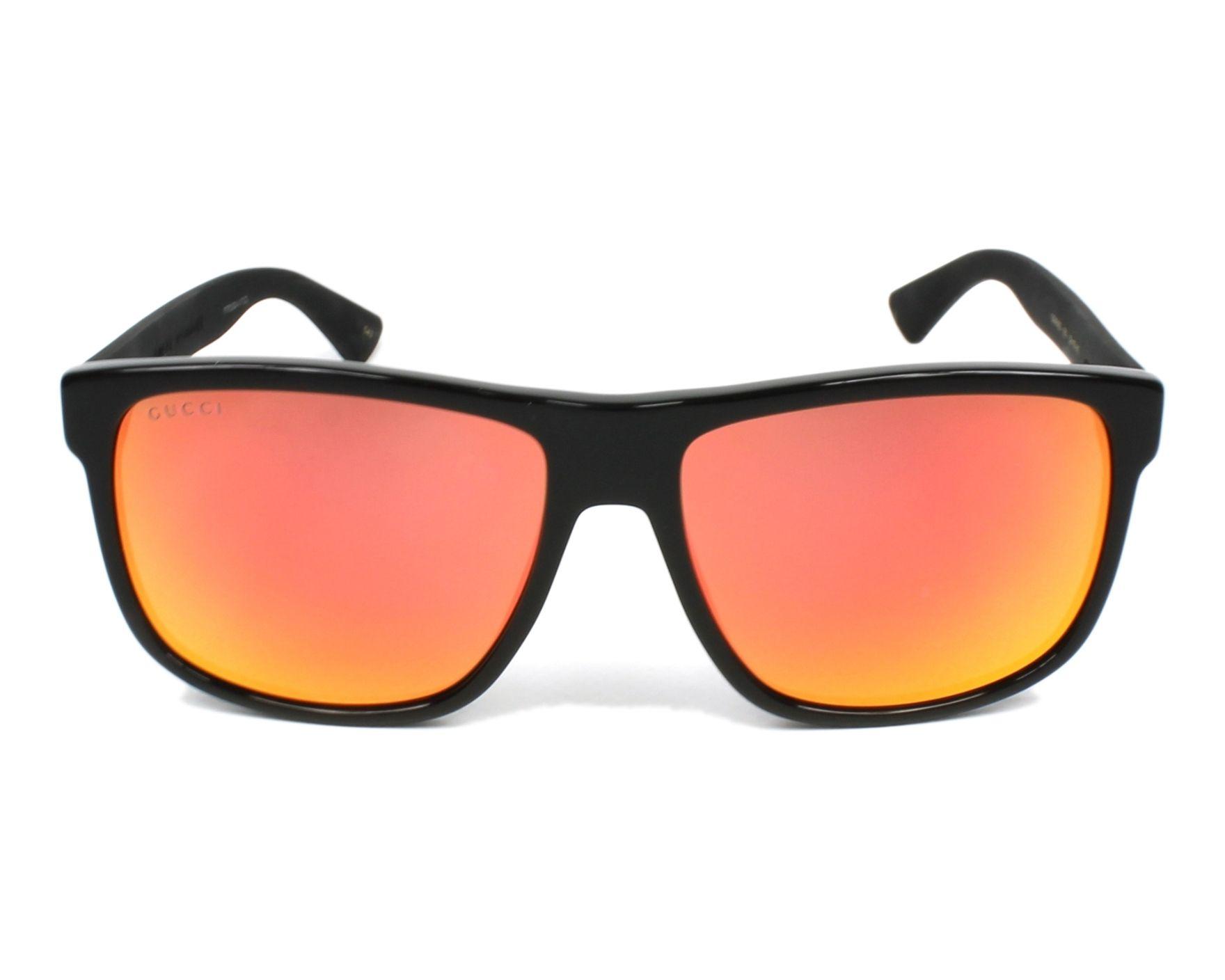 ed1587382f Sunglasses Gucci GG-0010-S 002 58-16 Black Black front view