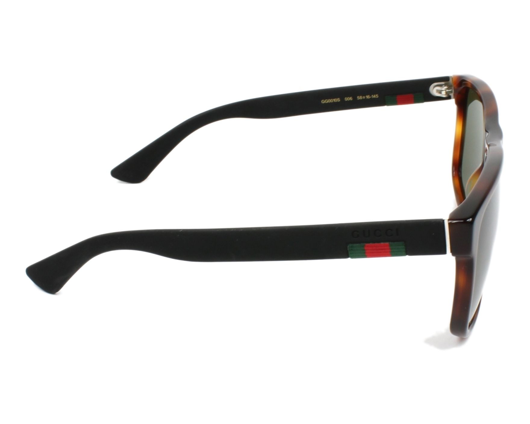 1d1113e601 Sunglasses Gucci GG-0010-S 006 58-16 Havana Black side view