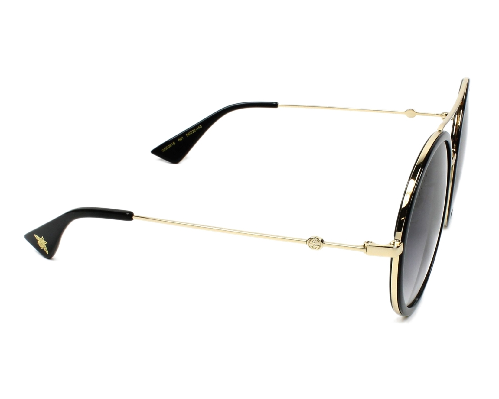 5759939d31 Sunglasses Gucci GG-0061-S 001 56-22 Black Gold side view