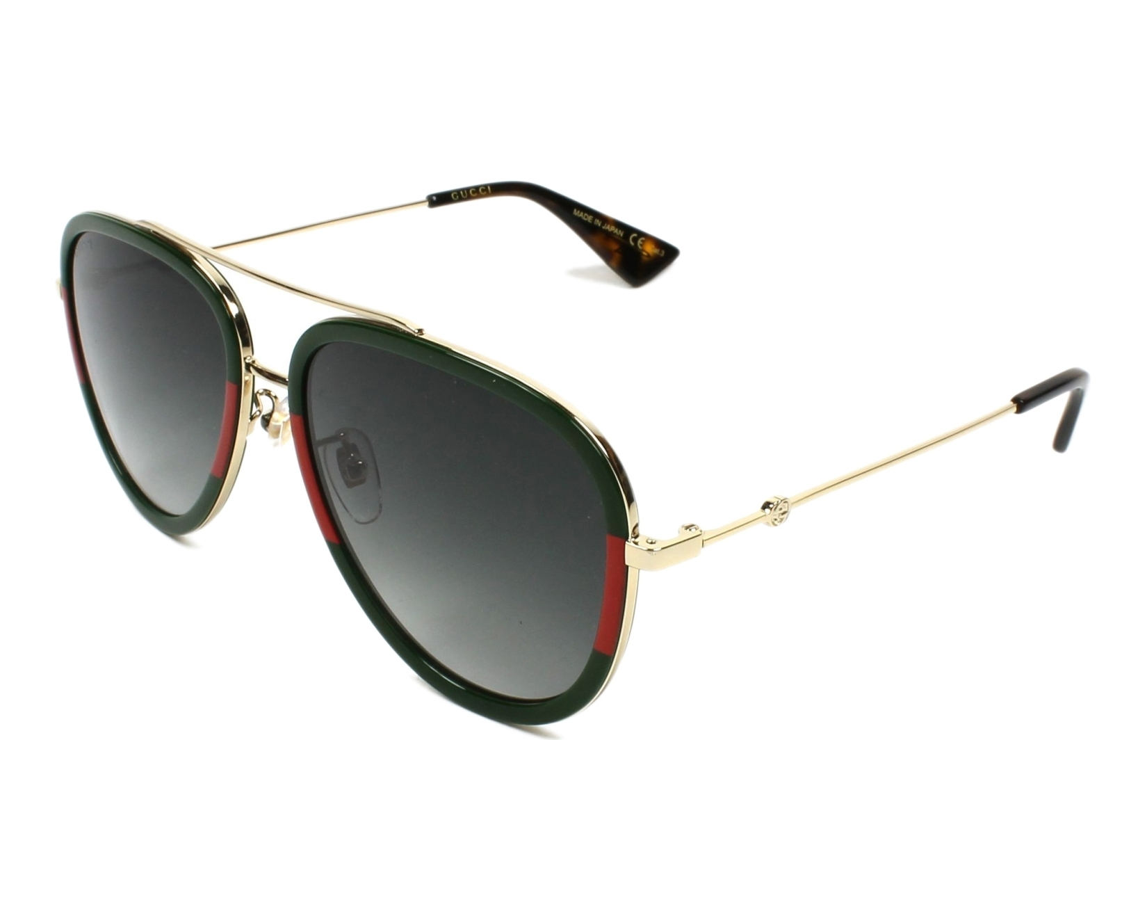 5246885bd02 Sunglasses Gucci GG-0062-S 003 57-17 Gold Green profile view