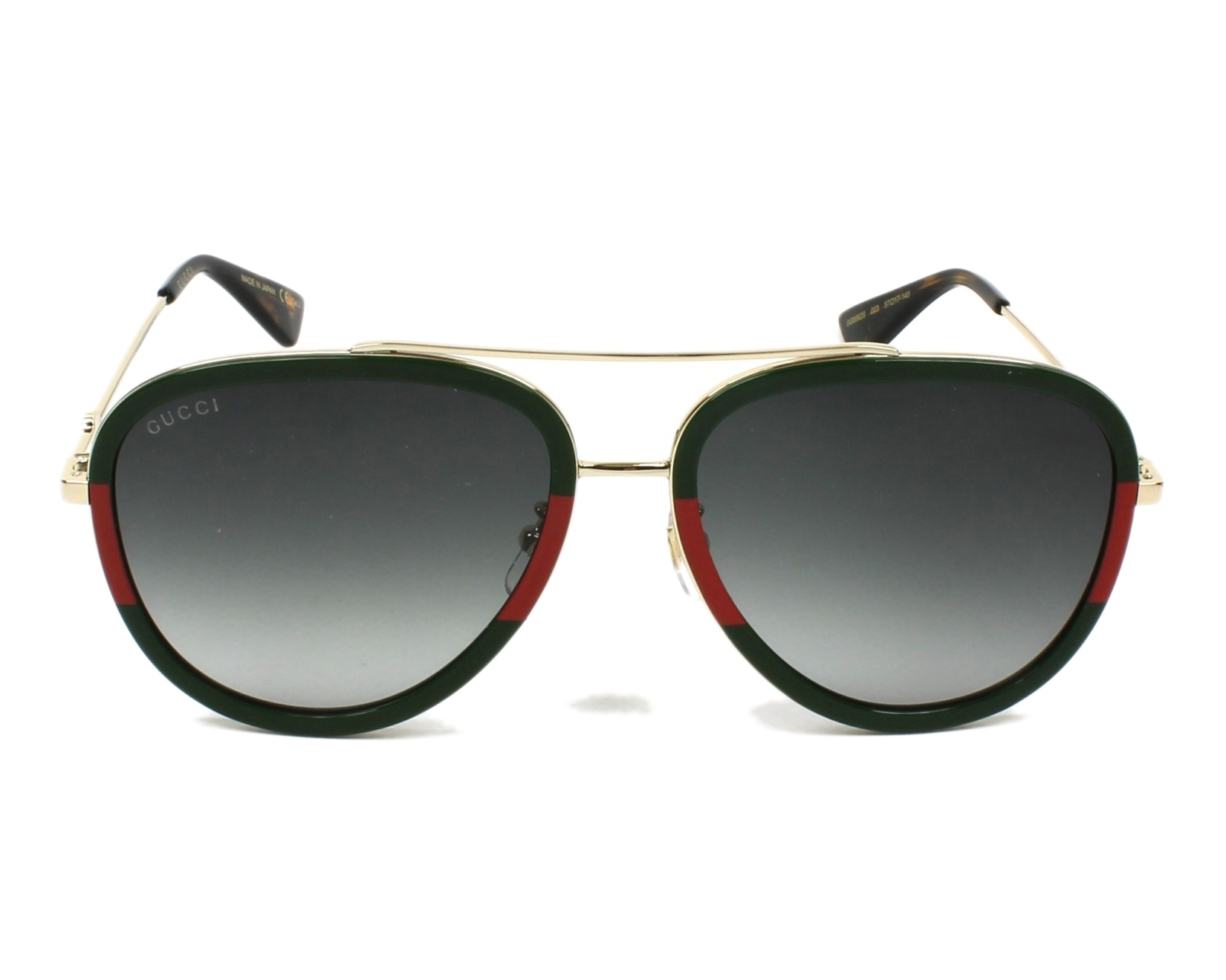 499076acc63 Sunglasses Gucci GG-0062-S 003 57-17 Gold Green front view
