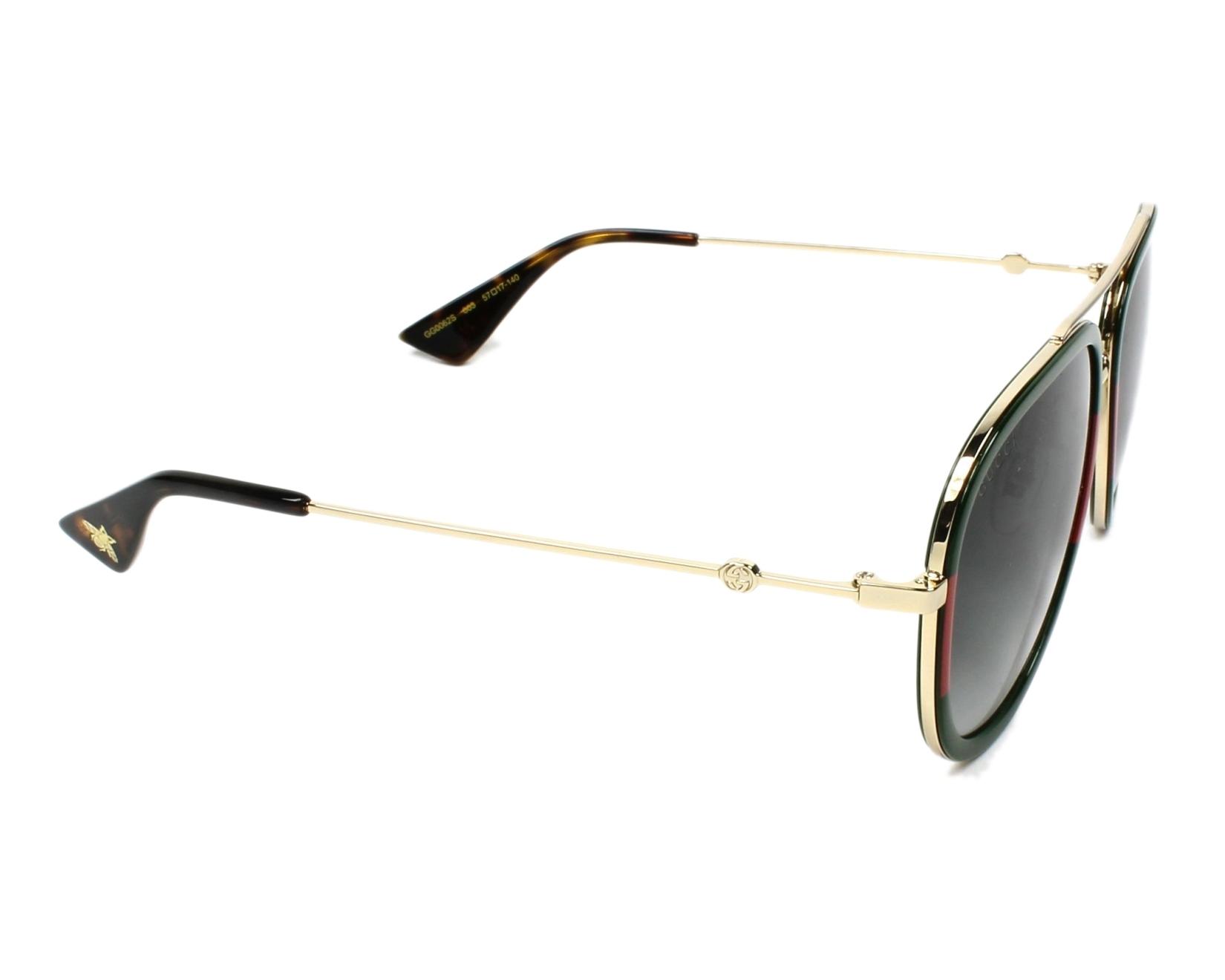 3bc2e8f931e Sunglasses Gucci GG-0062-S 003 57-17 Gold Green side view