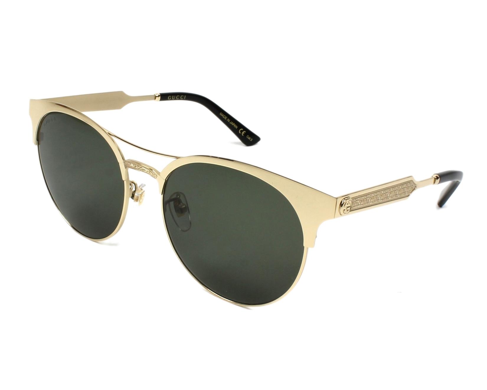 5f24abbc99285 Sunglasses Gucci GG-0075-S 003 56-18 Gold profile view