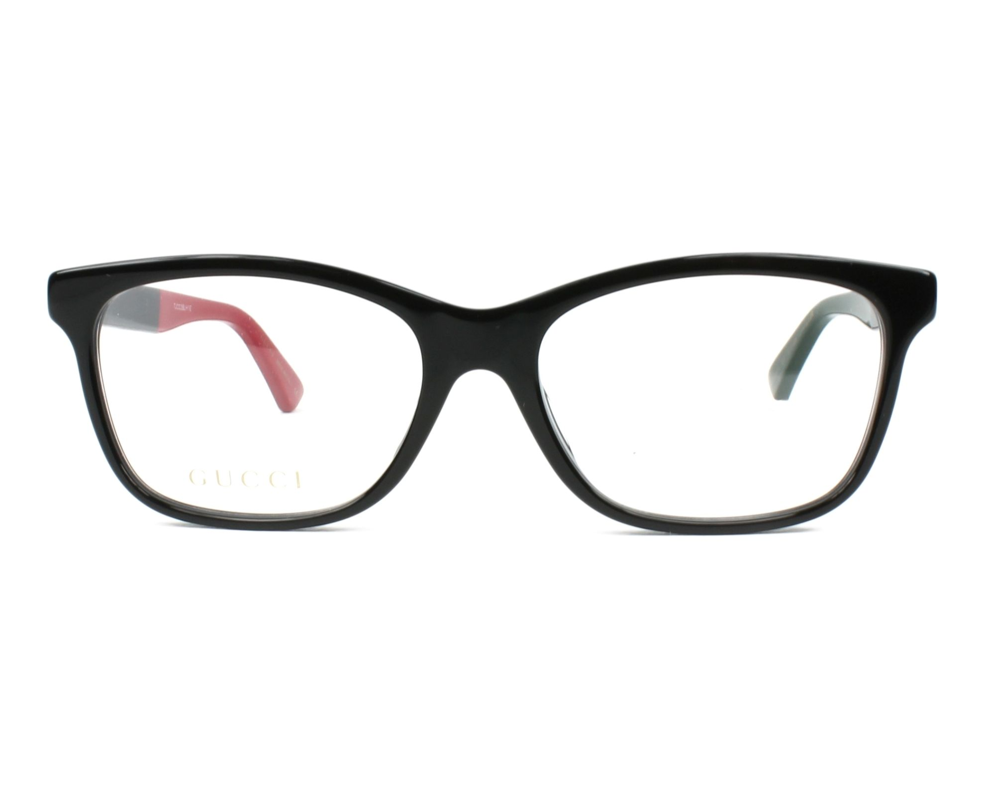 2f0d2dcc802e eyeglasses Gucci GG-0162-OA 003 55-17 Black Red front view