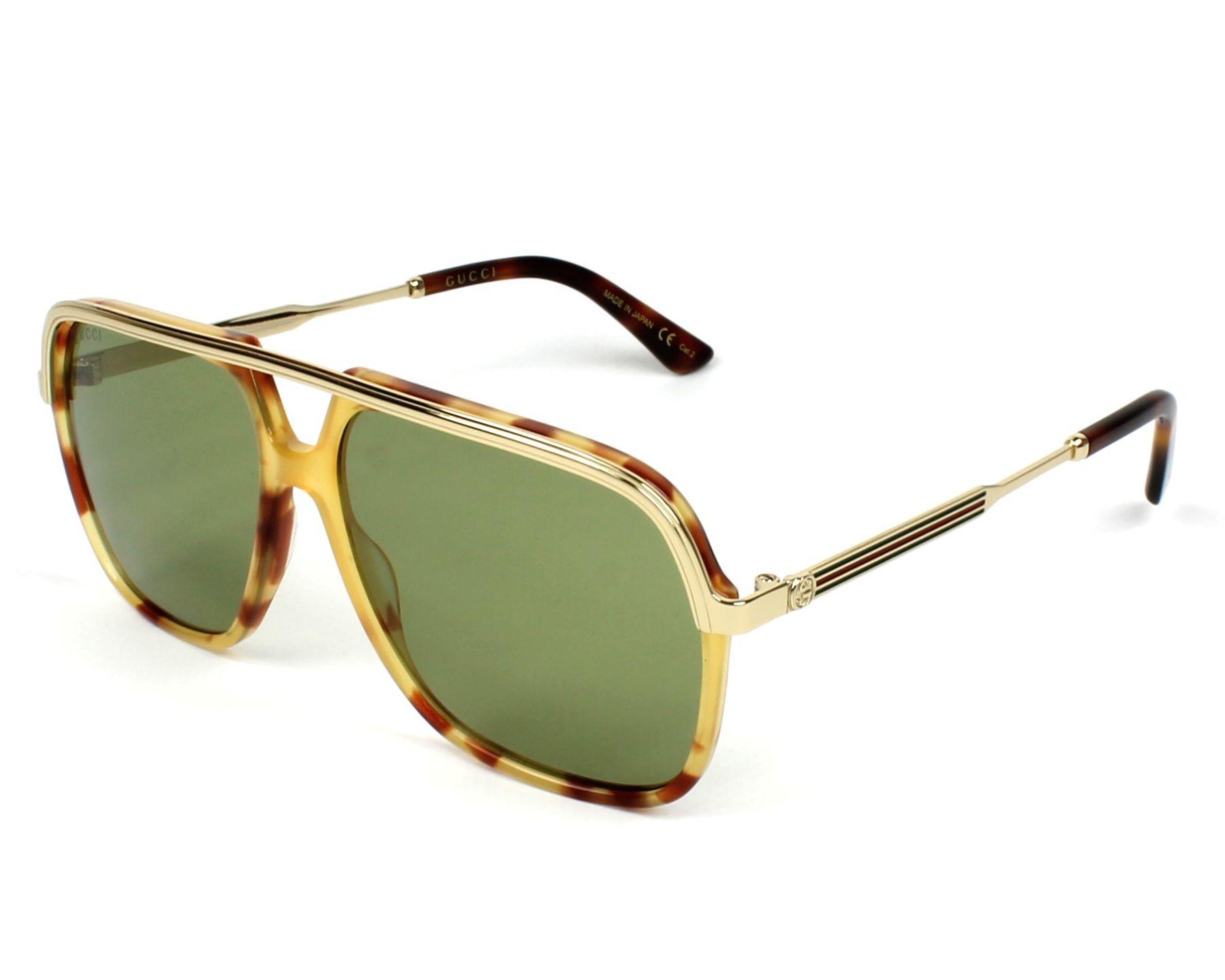 220b5edafbe49 Sunglasses Gucci GG-0200-S 003 57-14 Havana Gold profile view