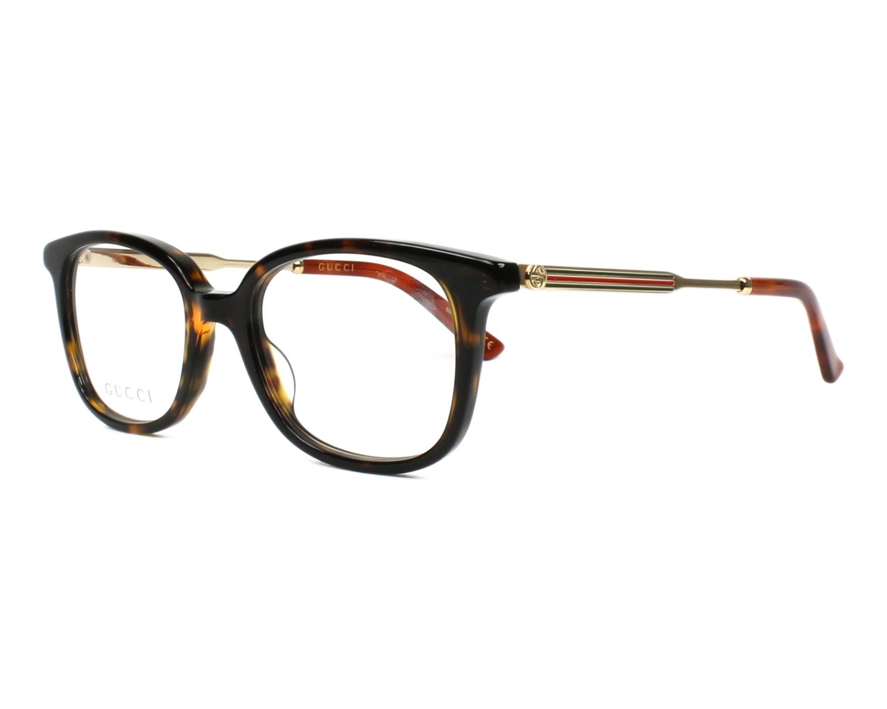 fb53629617d7 eyeglasses Gucci GG-0202-O 002 50-18 Havana Gold profile view