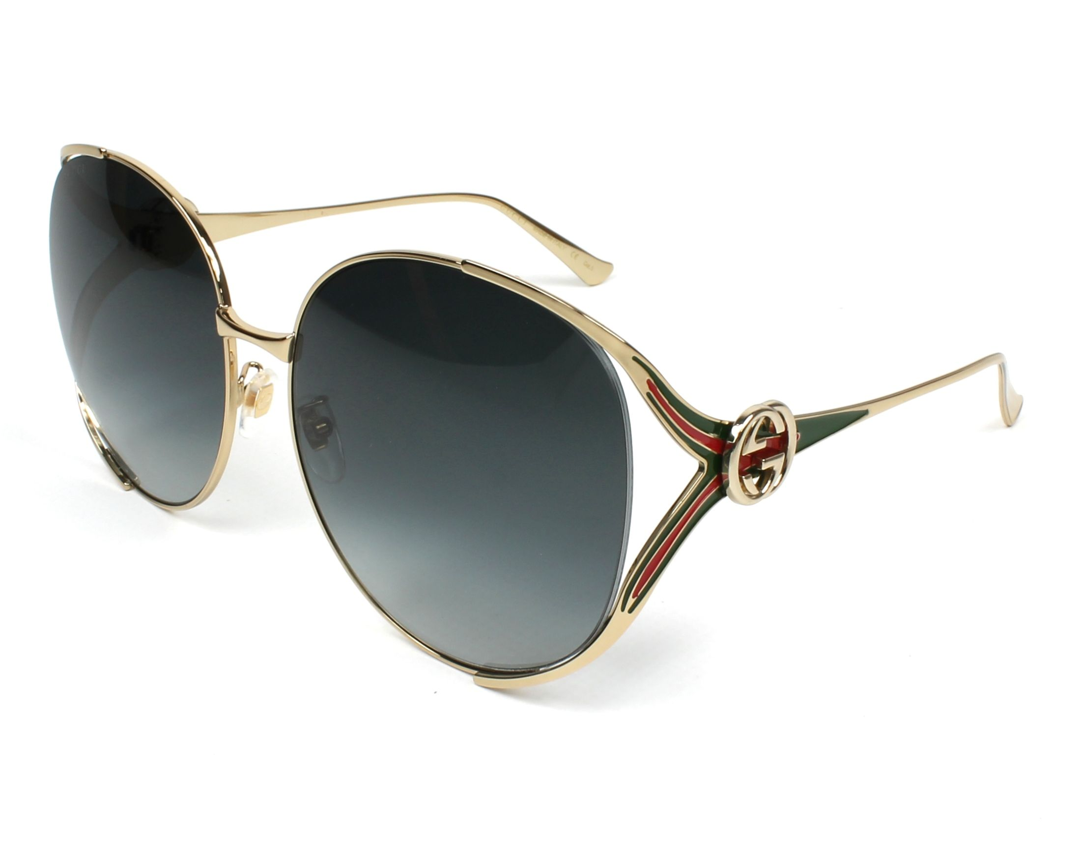 Gucci Sunglasses Gold With Grey Lenses Gg 0225 S 001