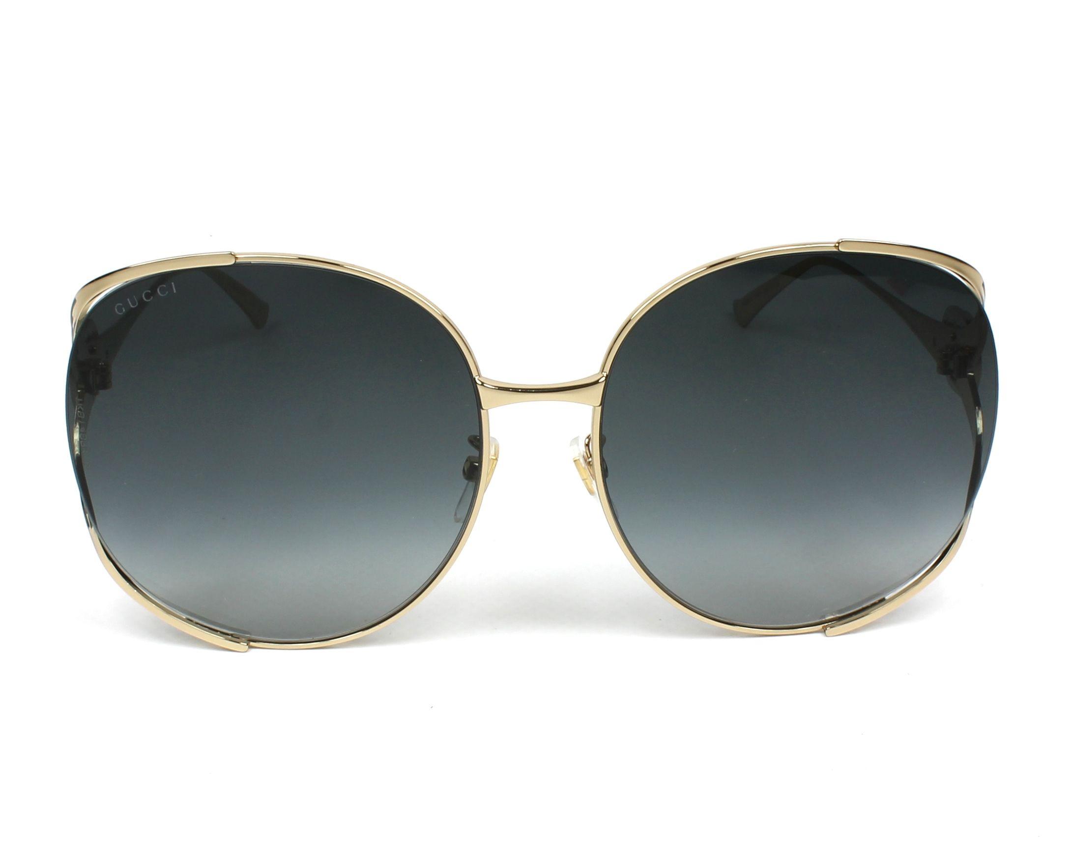 e4ba9f1b42 Sunglasses Gucci GG-0225-S 001 63-17 Gold Green front view