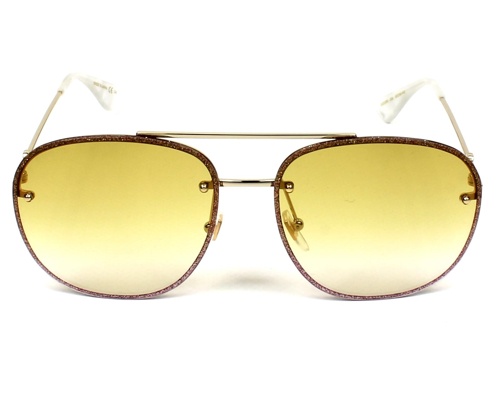 c5ab96ed2e3 Sunglasses Gucci GG-0227-S 005 62-16 Rosa Gold front view