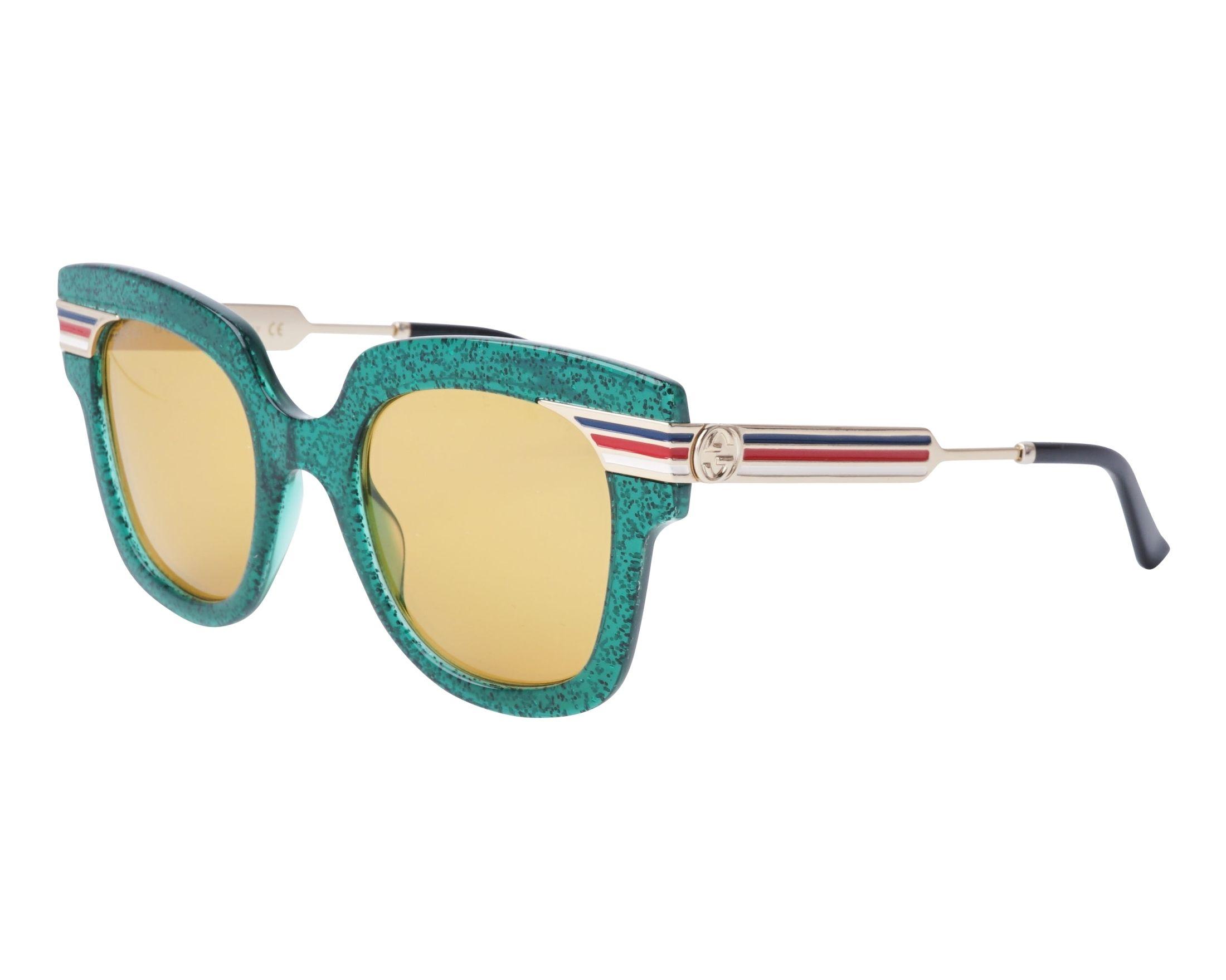 d6bb572a53 Sunglasses Gucci GG-0281-S 006 50-23 Green Gold profile view