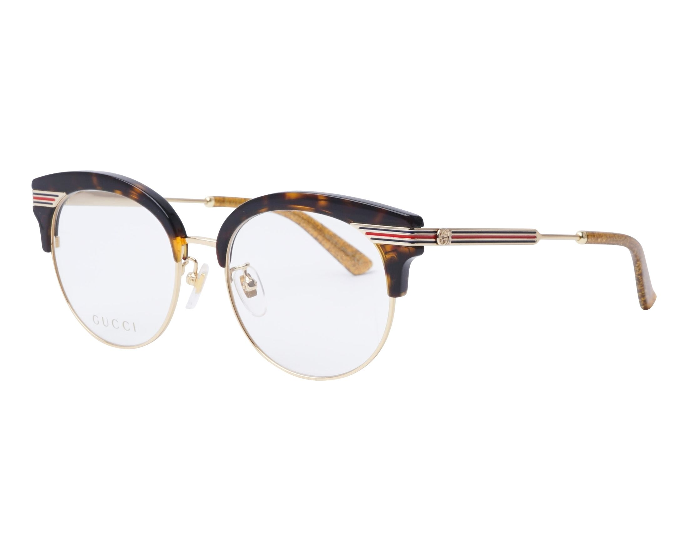 fa91621c2a9 eyeglasses Gucci GG-0285-OA 002 52-18 Havana Gold profile view