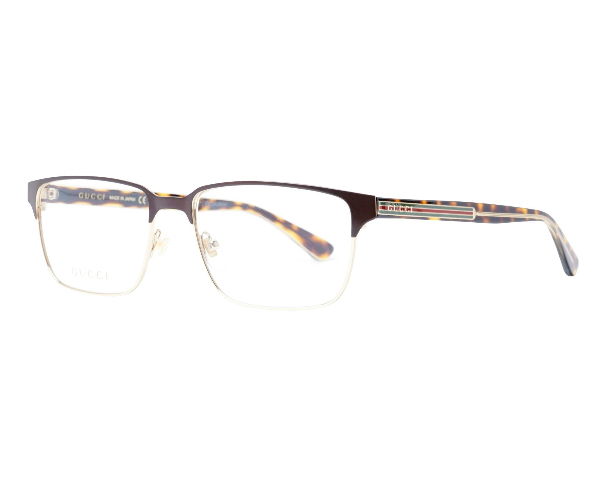 e603cf729dca7 eyeglasses Gucci GG-0383-O 005 58-17 Brown Gold profile view