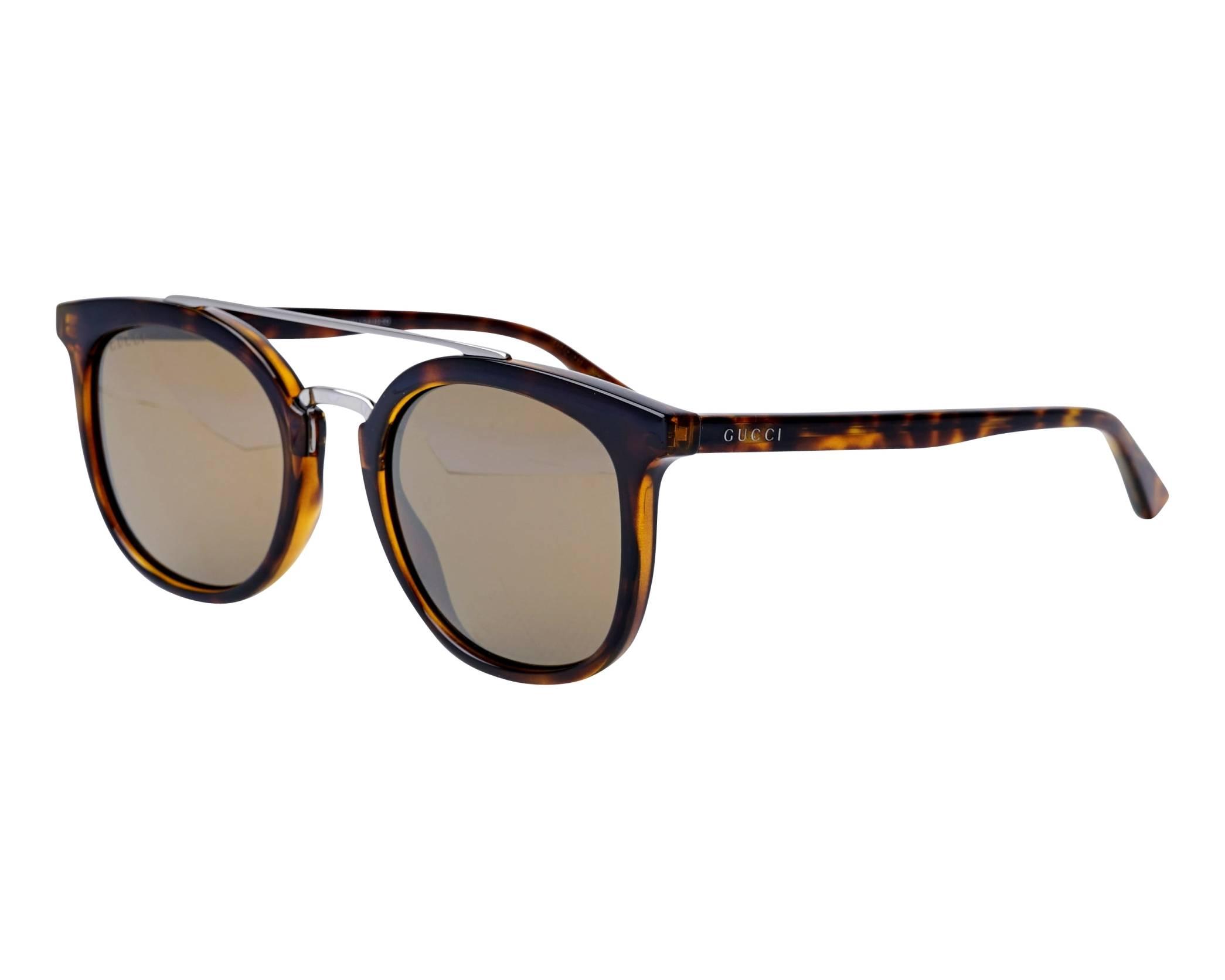 acd237fe5dc Sunglasses Gucci GG-0403-S 002 51-22 Havana Silver profile view