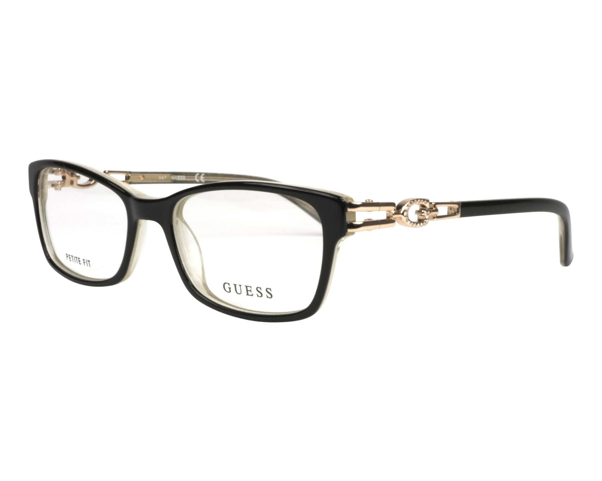 eyeglasses Guess GU-2677-V 001 50-17 Black Crystal profile view