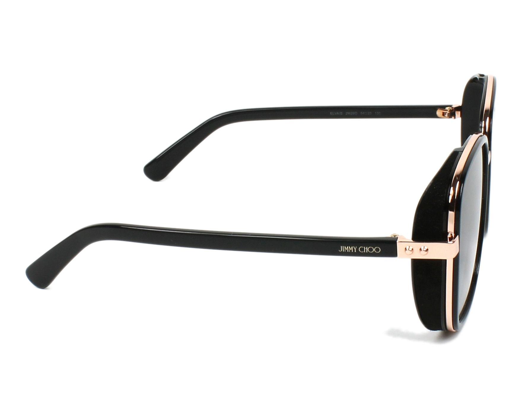 7615959f744e Sunglasses Jimmy Choo ELVA-S 2M2 90 54-20 Black Gold Copper side