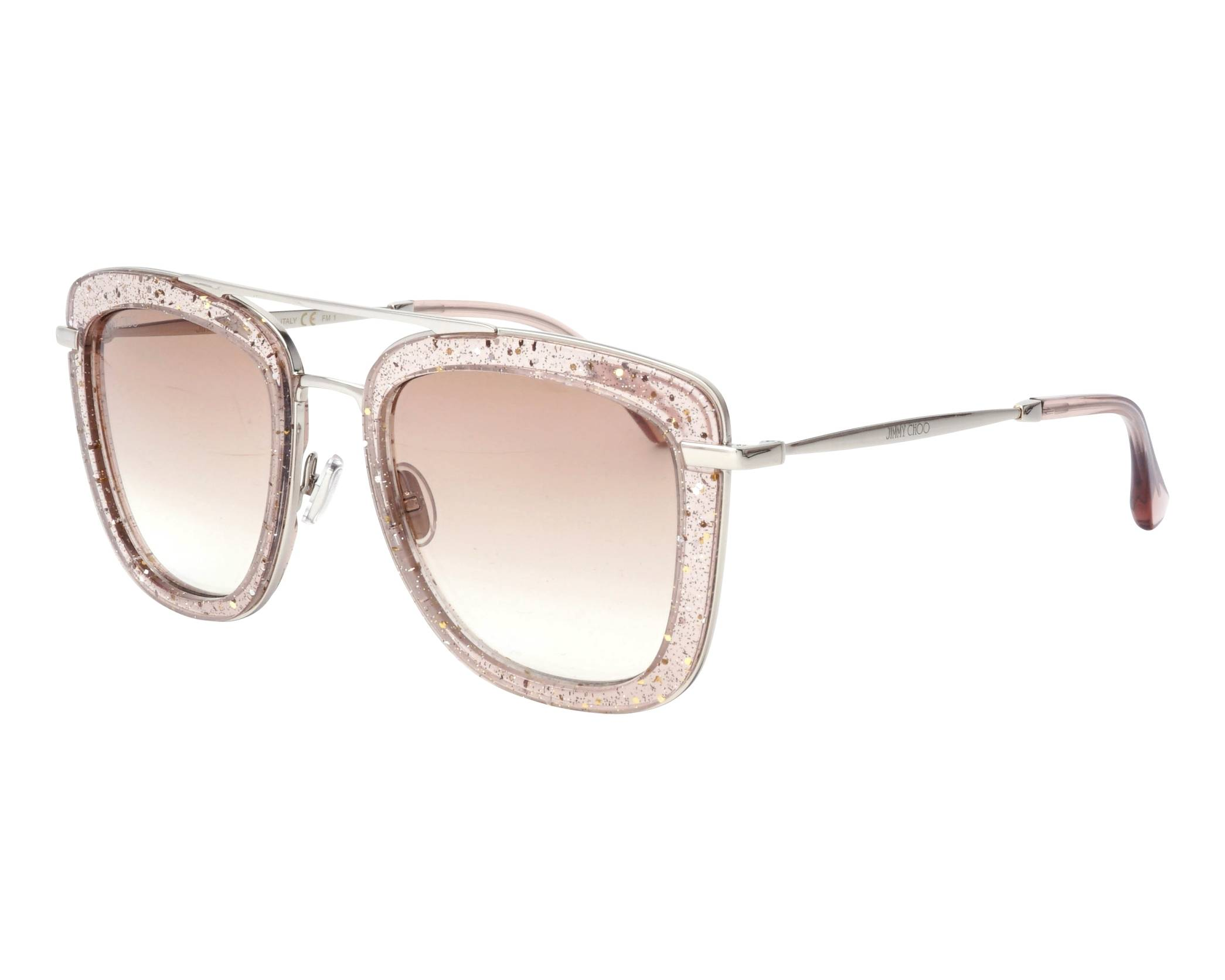 Jimmy Choo Glossy 53mm Square Sunglasses - Nude in Natural